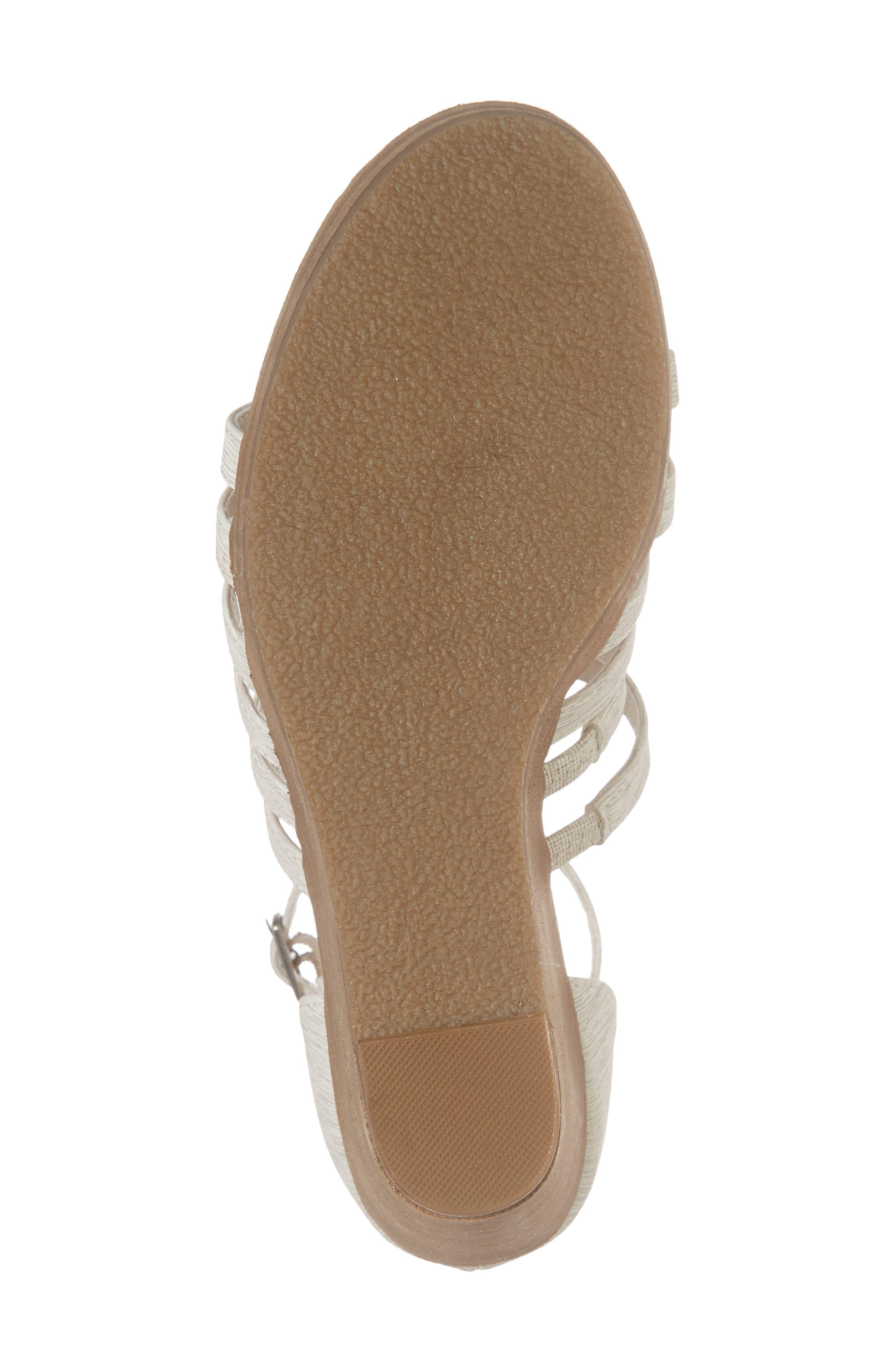 Kiera Wedge Sandal,                             Alternate thumbnail 6, color,                             NATURAL FABRIC