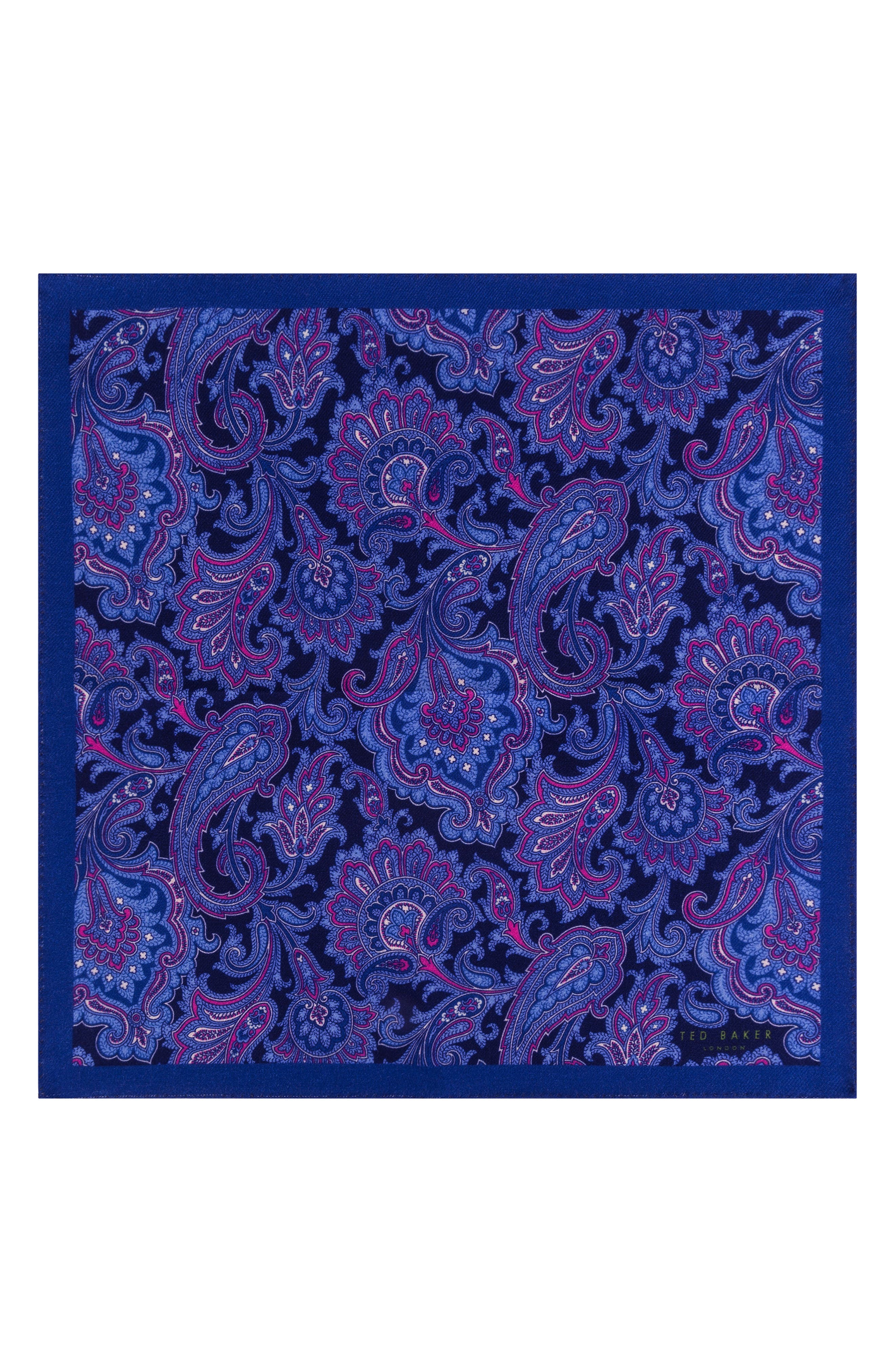 Paisley Wool Pocket Square,                             Alternate thumbnail 2, color,                             NAVY