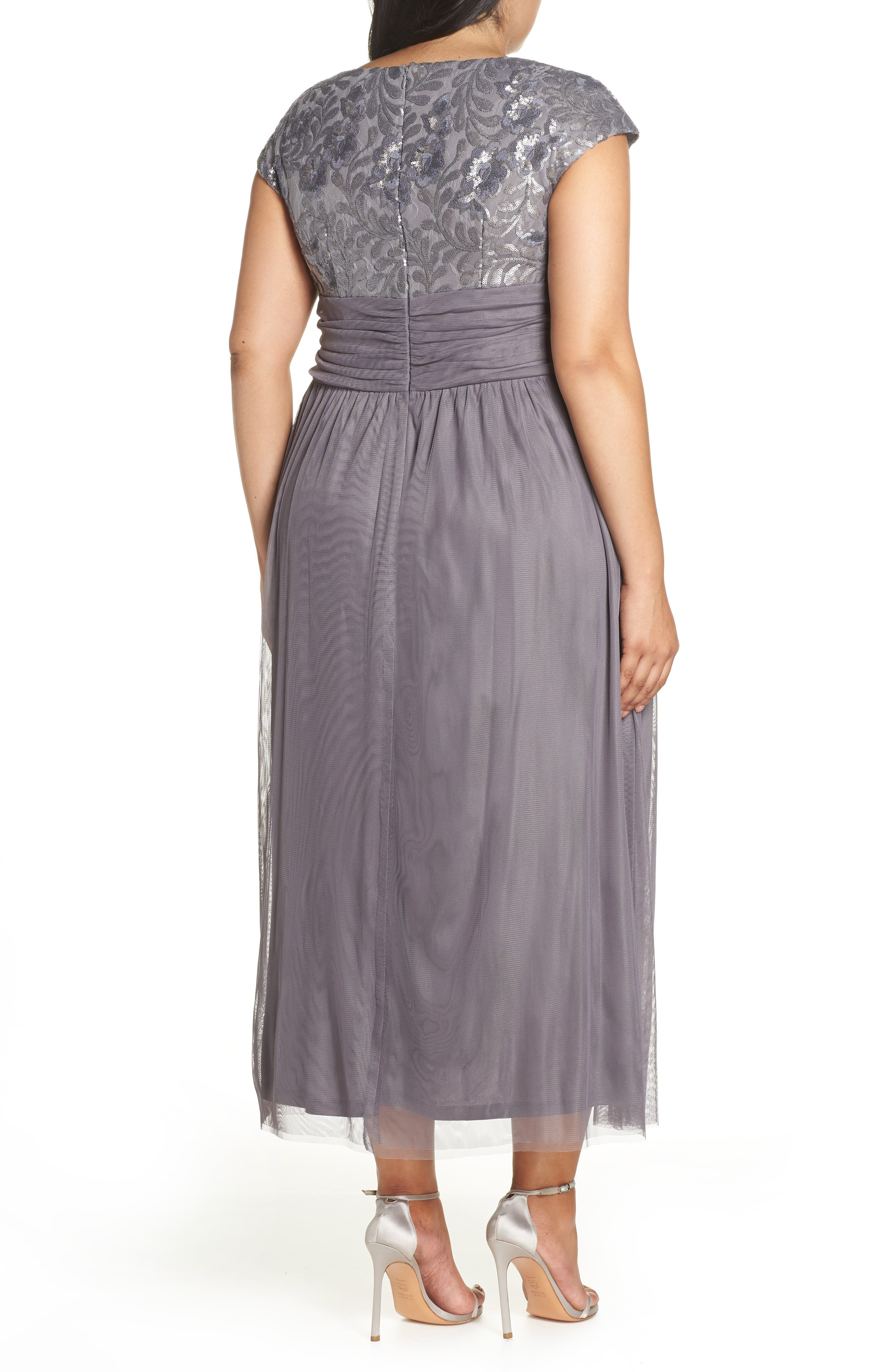 Embellished Cap Sleeve Gown,                             Alternate thumbnail 2, color,                             GUNMETAL