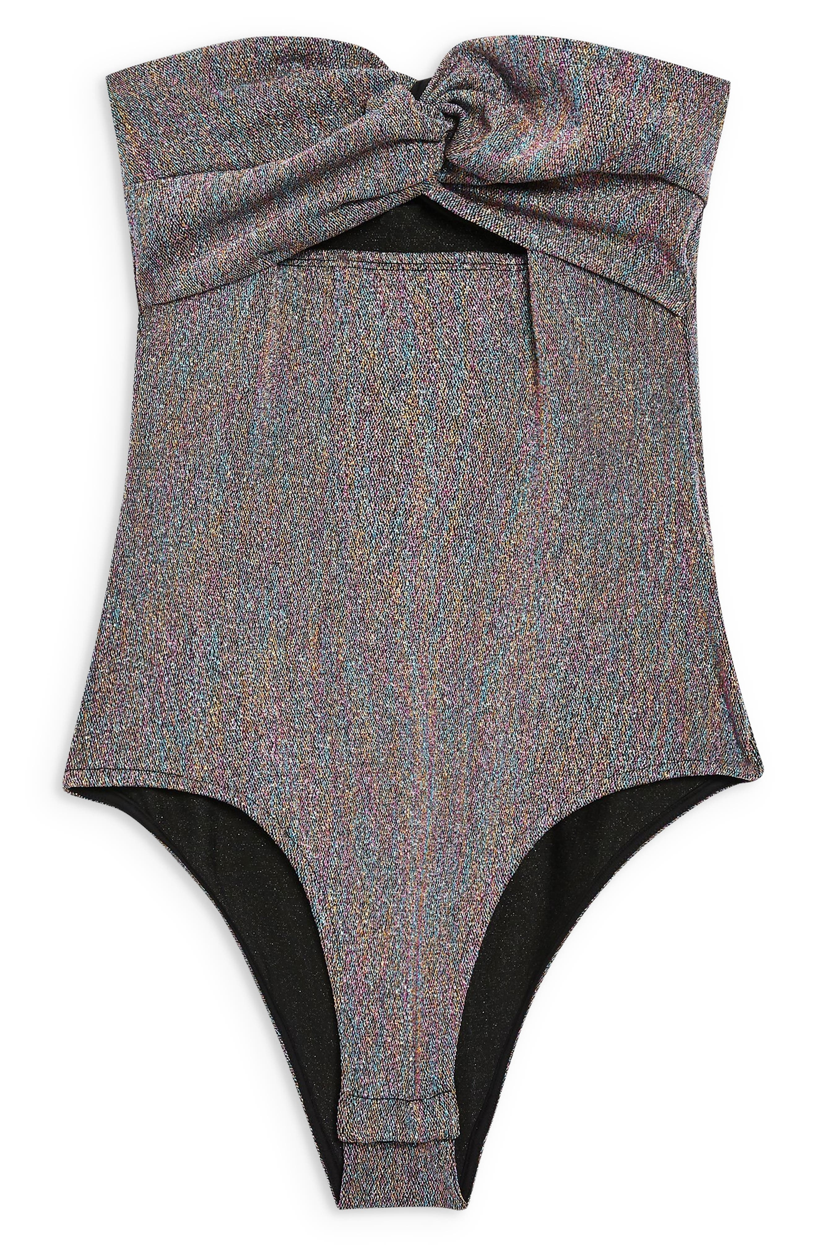 Twist Bandeau Bodysuit,                             Alternate thumbnail 4, color,                             METALLIC SILVER