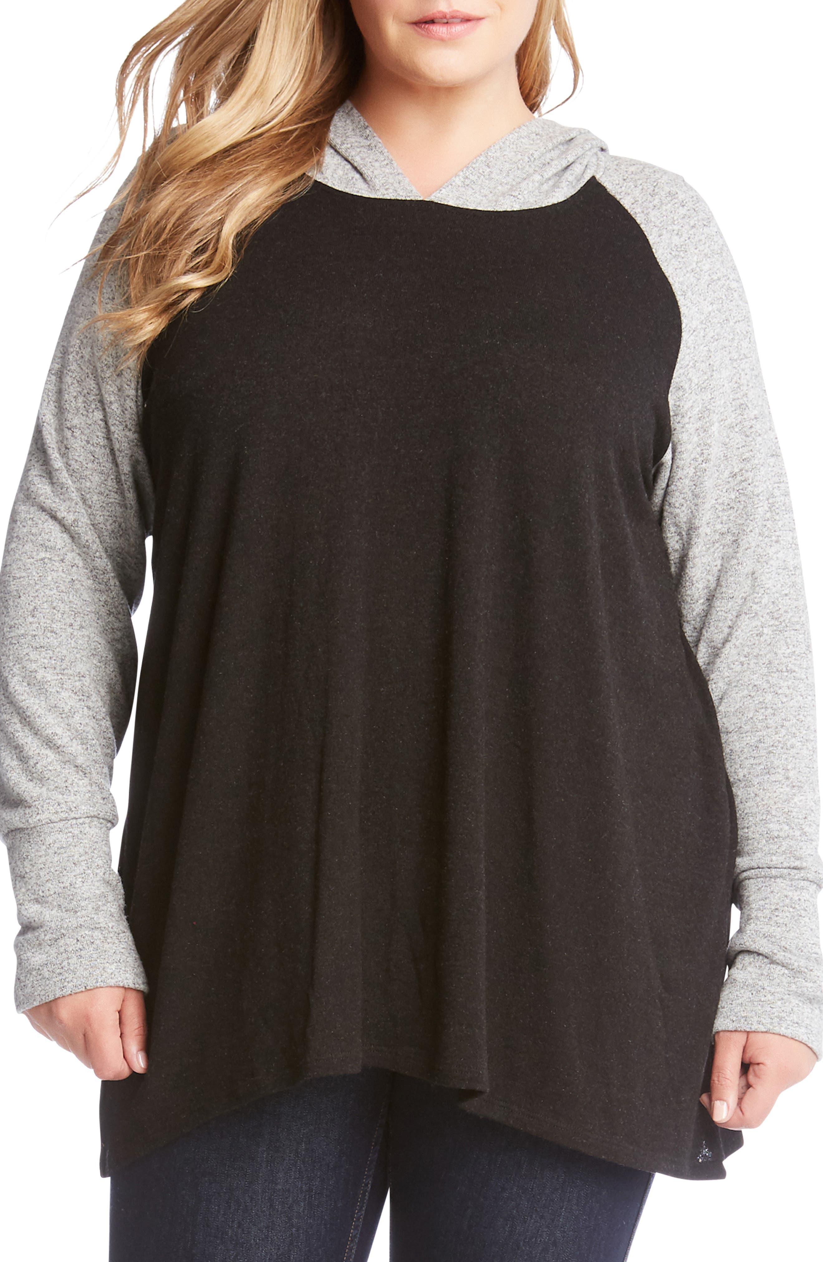 Plus Size Karen Kane Raglan Sleeve Hoodie, Black