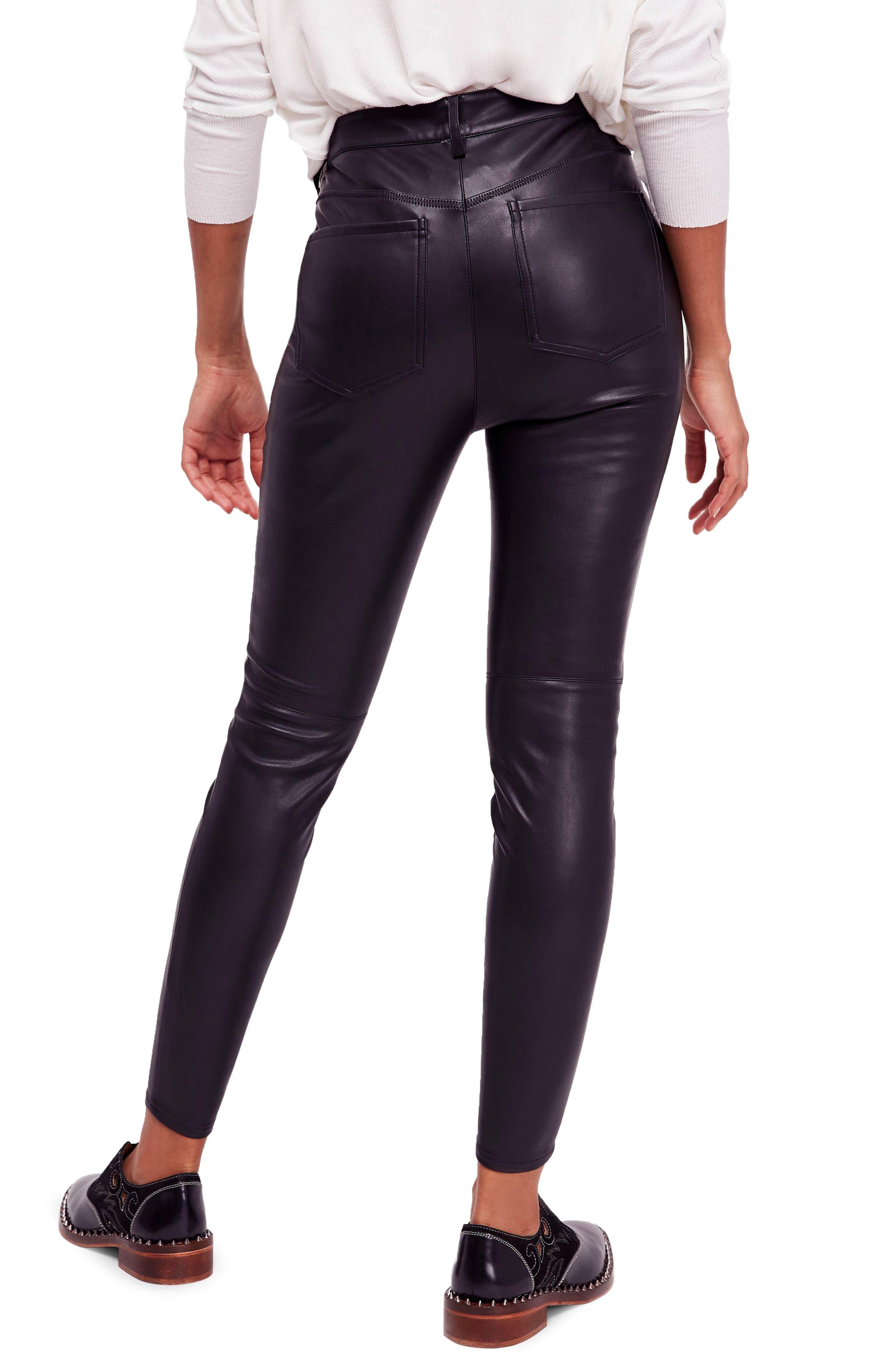Long & Lean High Waist Leggings,                             Alternate thumbnail 2, color,                             BLACK