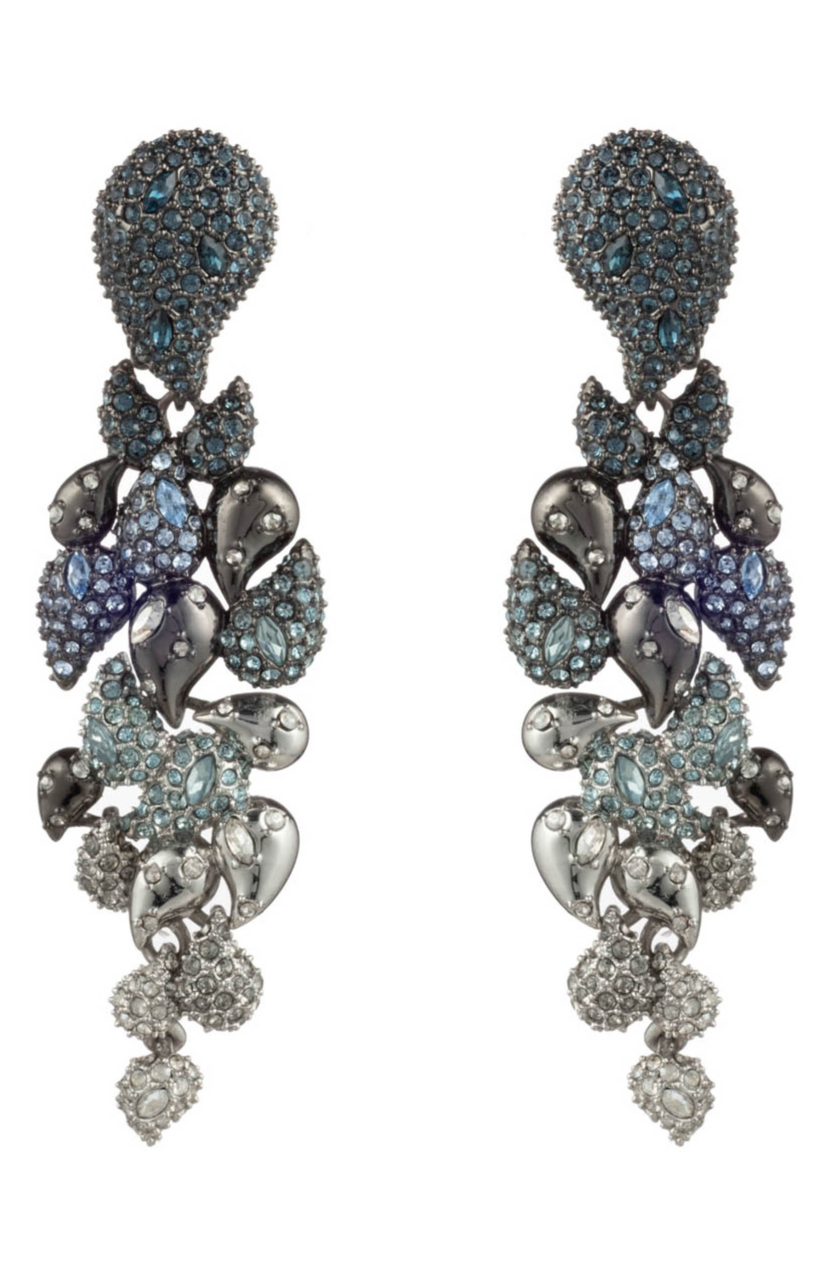 Winter Paisley Crystal Encrusted Ombre Statement Clip Earrings in Blue