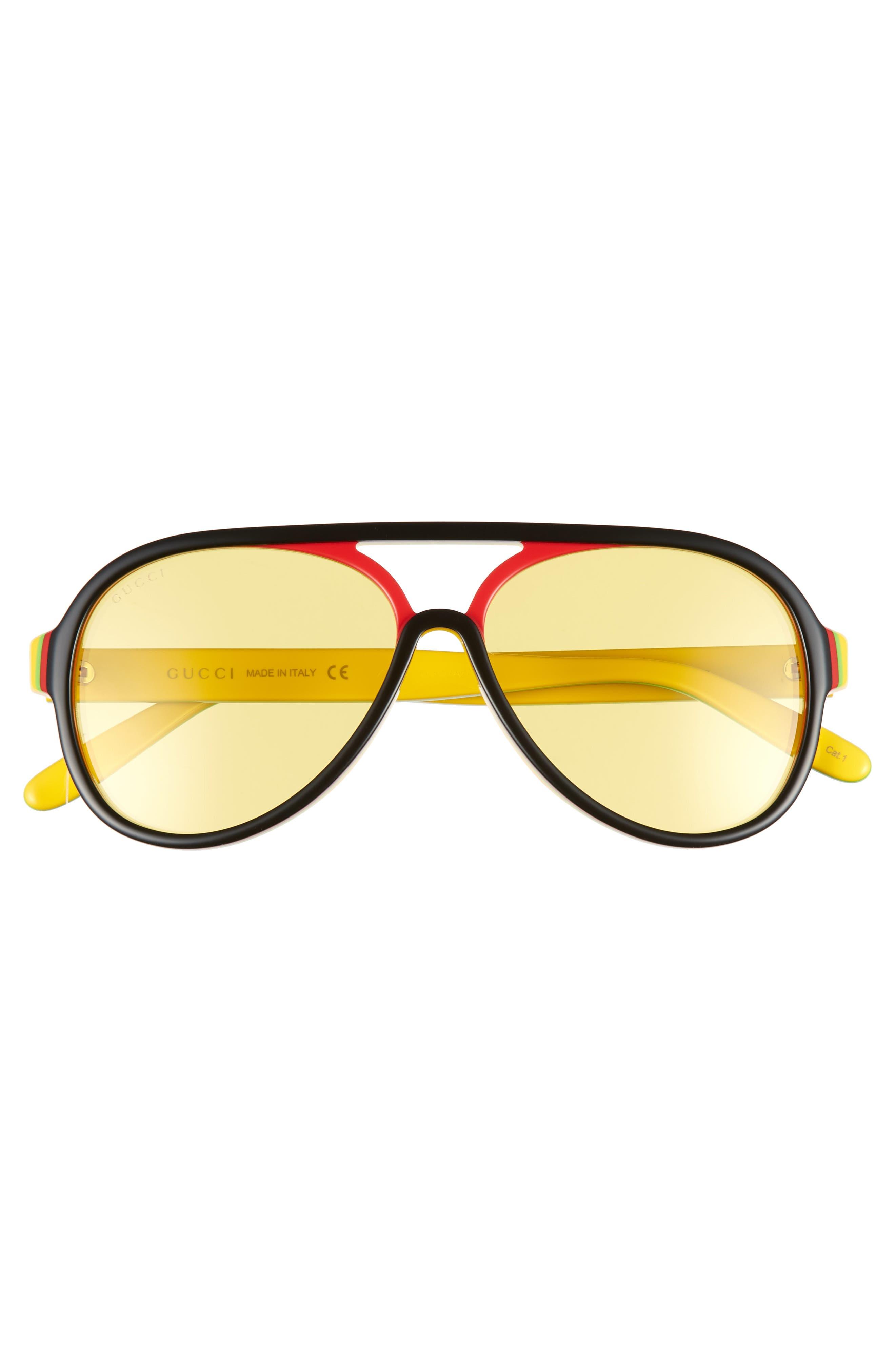 GUCCI,                             57mm Aviator Sunglasses,                             Alternate thumbnail 2, color,                             005