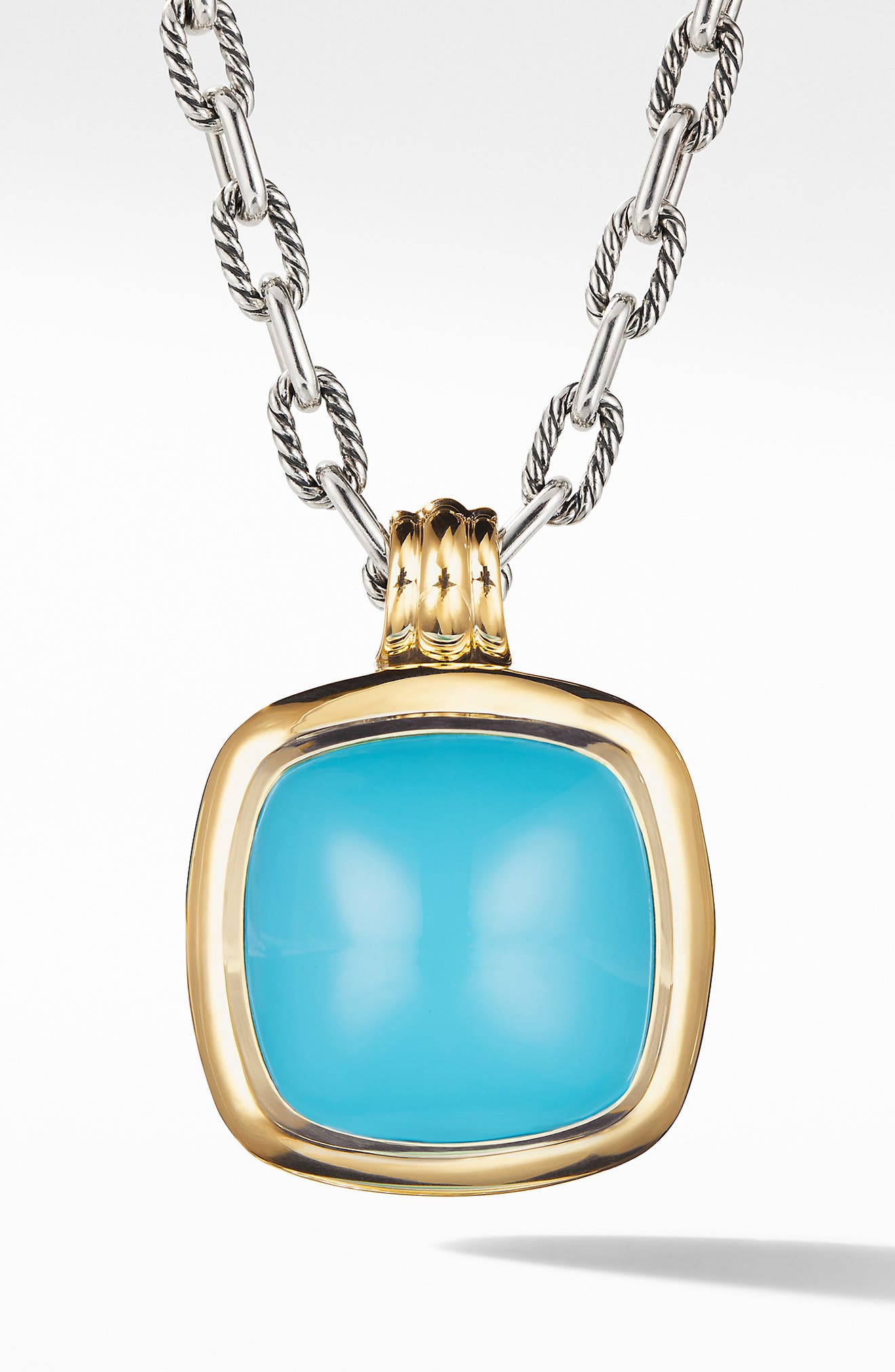 Albion Reconstituted Turquoise Amulet Enhancer,                             Main thumbnail 1, color,                             SILVER/ TURQUOISE