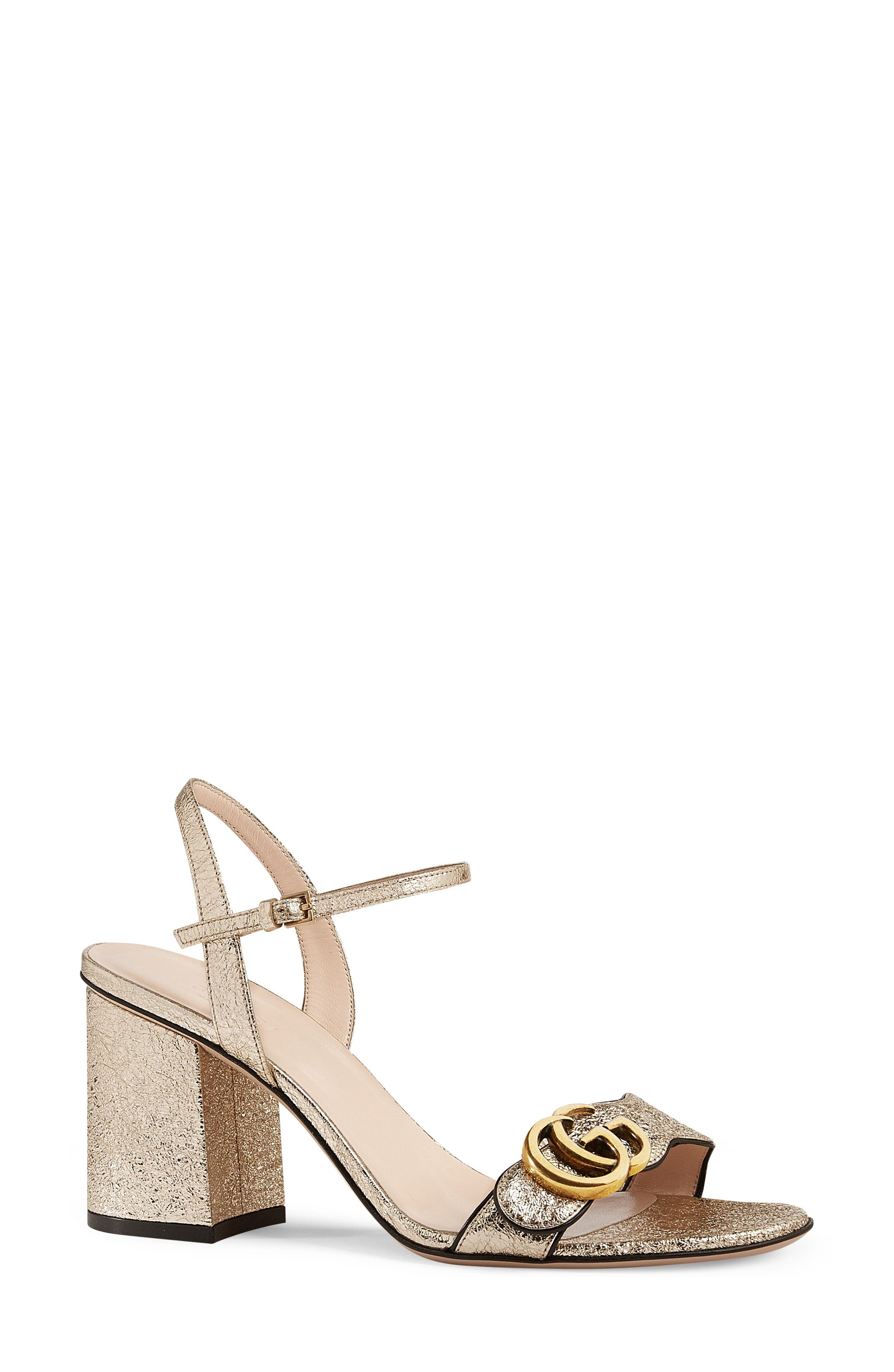 GG Marmont Sandal,                             Alternate thumbnail 3, color,                             METALLIC GOLD
