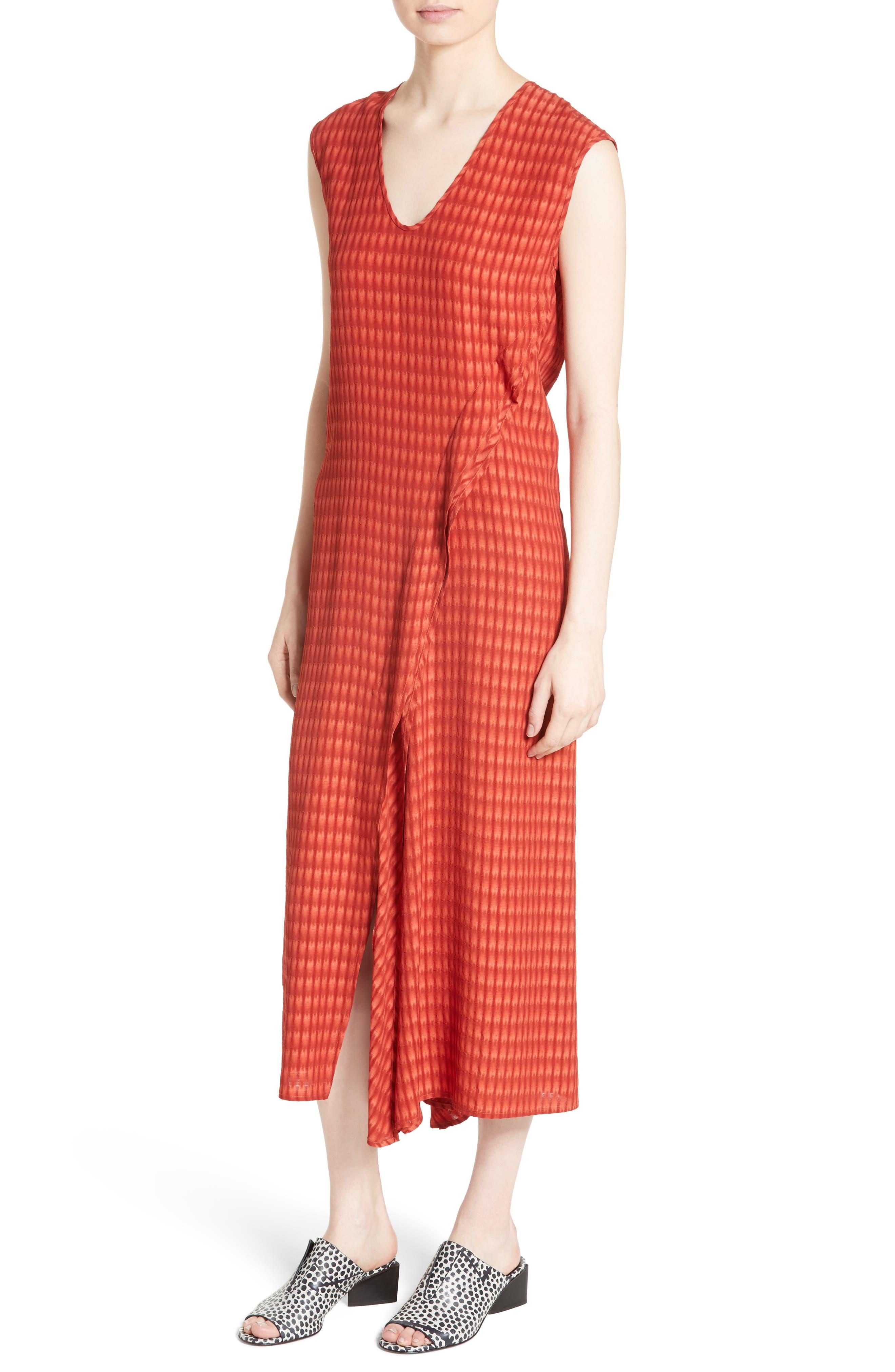 Twisted Tank Batik Plaid Dress,                             Alternate thumbnail 4, color,