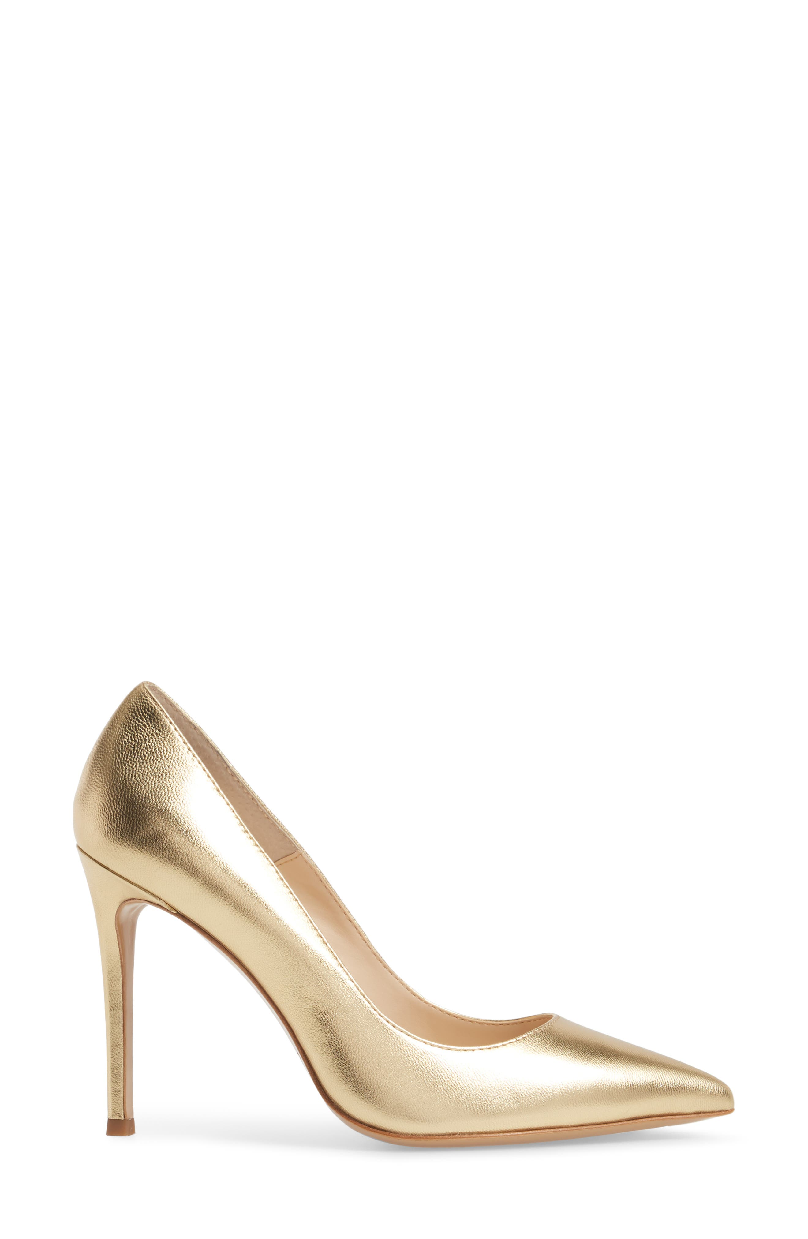 Calessi Pointy Toe Pump,                             Alternate thumbnail 3, color,                             GOLD LEATHER
