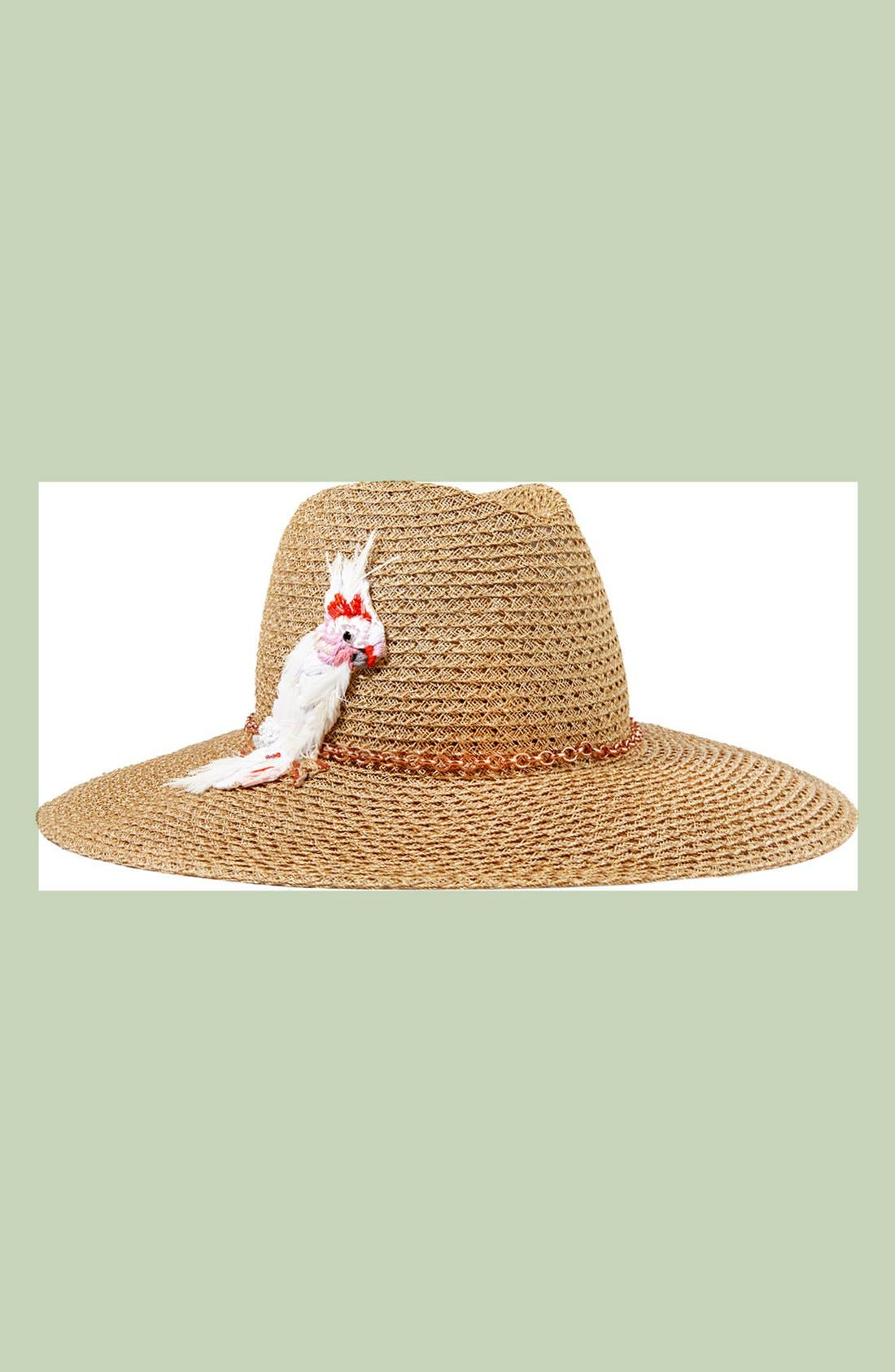 'Emmanuelle' Cockatoo Ornament Straw Hat,                             Alternate thumbnail 3, color,                             250
