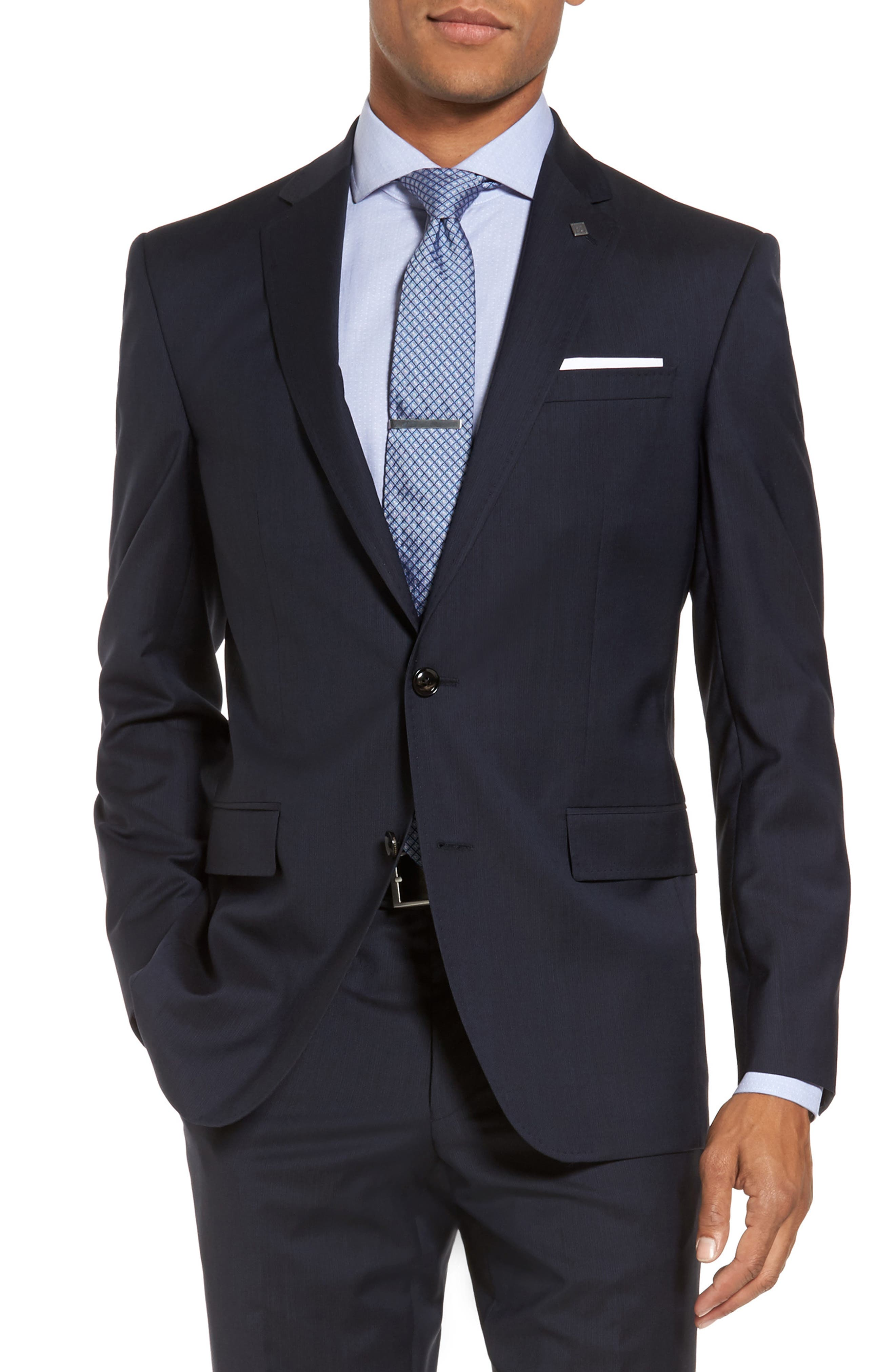 Trim Fit Solid Wool Suit,                             Alternate thumbnail 5, color,