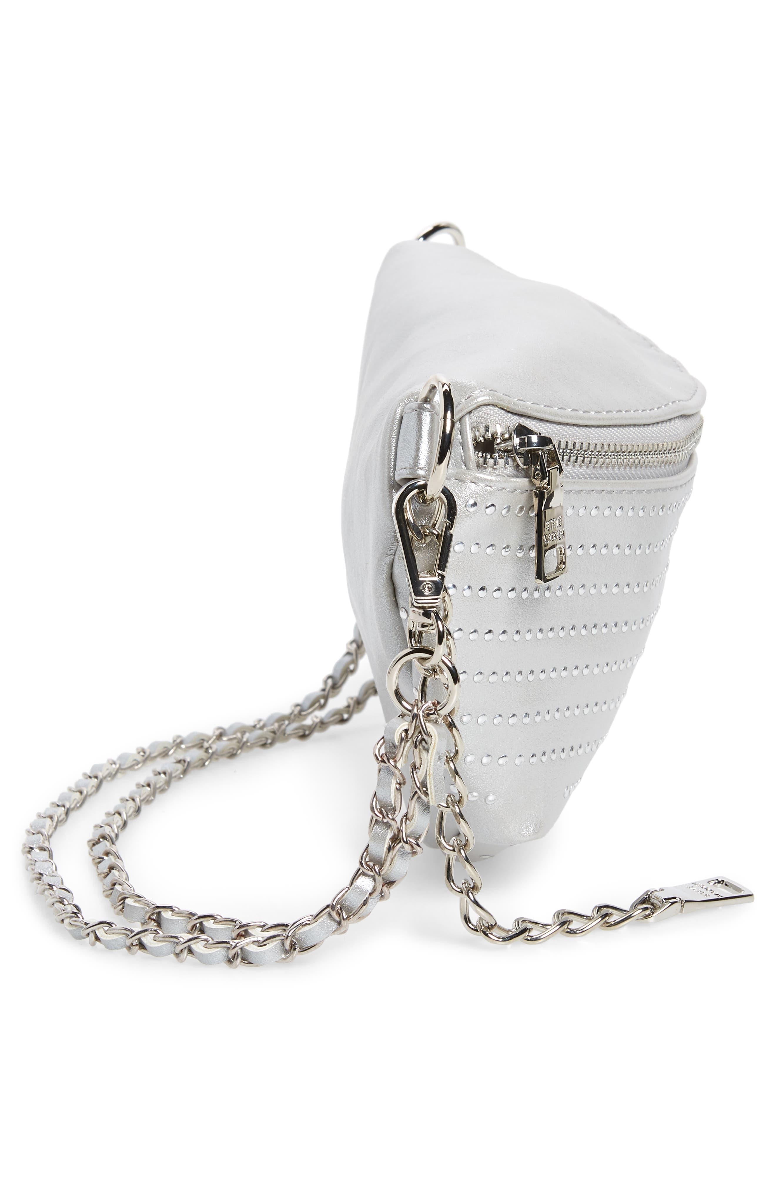 Becca Metallic Studded Belt Bag,                             Alternate thumbnail 6, color,                             SILVER