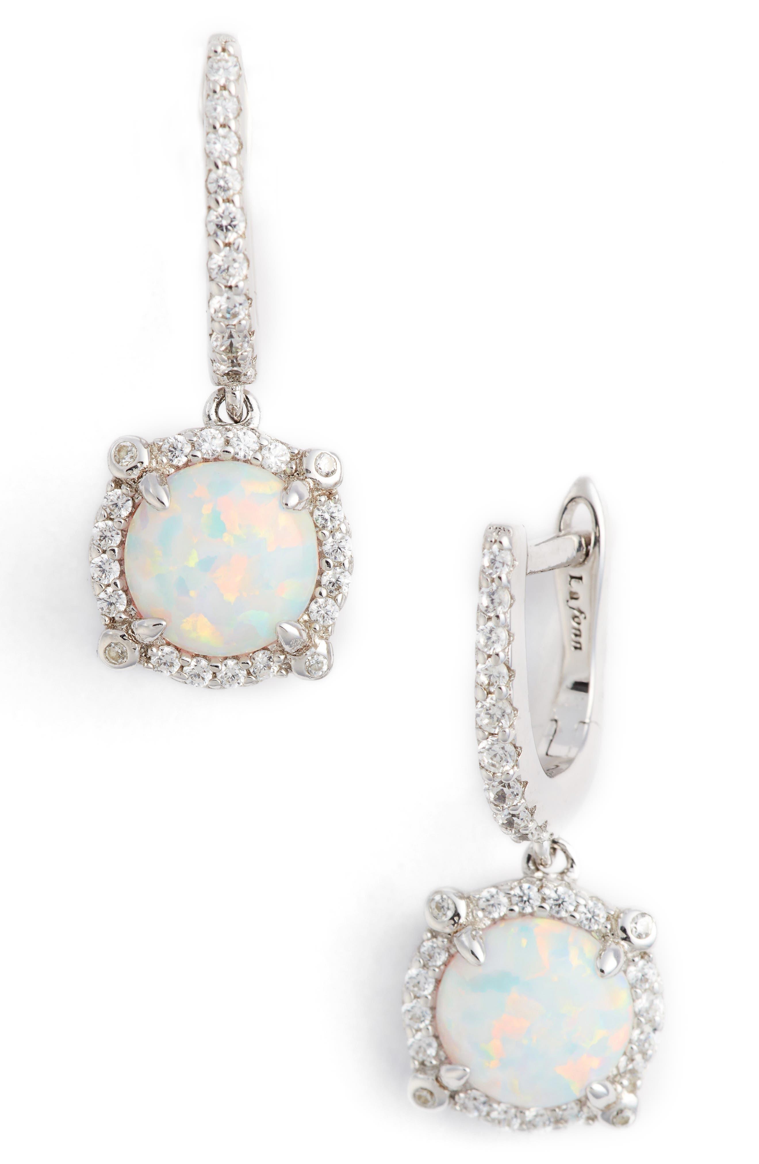 Simulated Diamond Drop Earrings,                             Main thumbnail 1, color,                             SILVER/ OPAL/ CLEAR