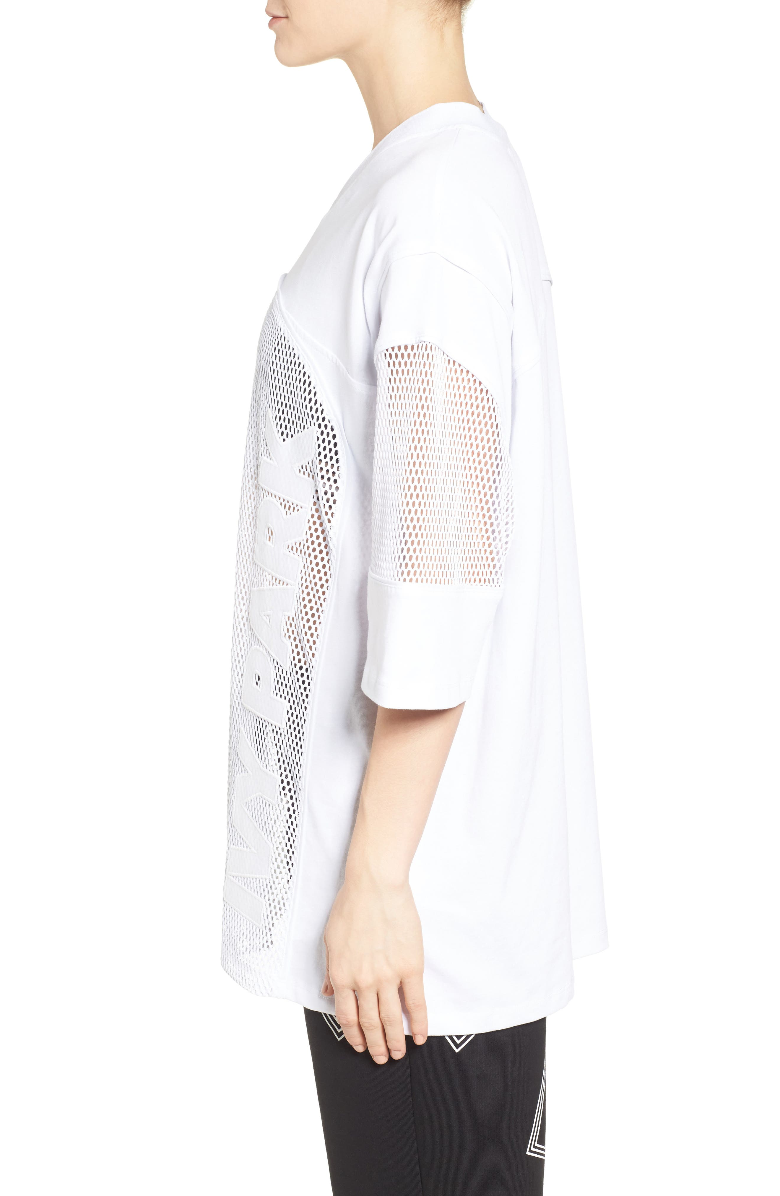 Logo Mesh Oversize Tee,                             Alternate thumbnail 3, color,                             100