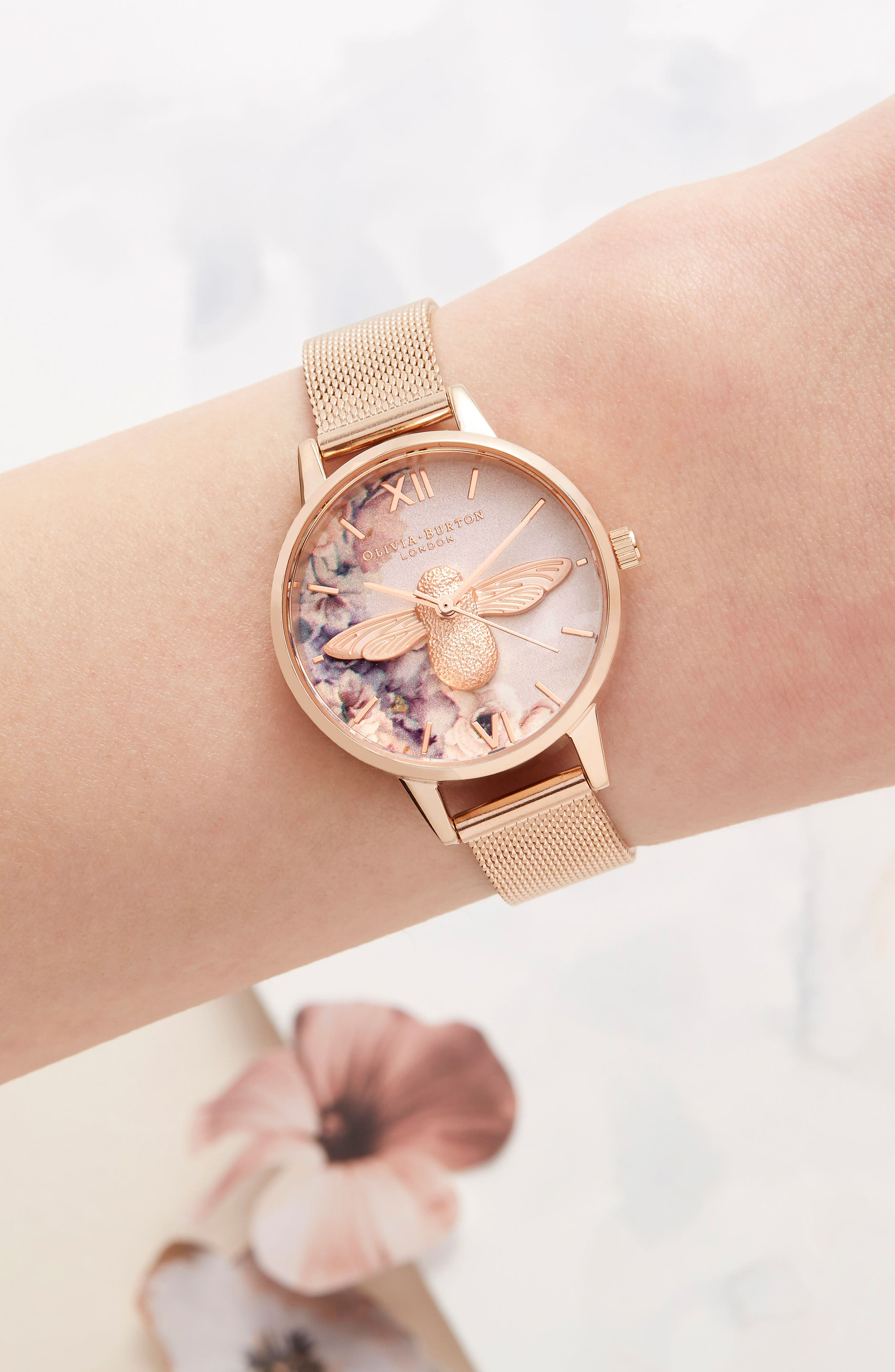 Watercolor Floral Mesh Strap Watch, 30mm,                             Alternate thumbnail 6, color,                             ROSE GOLD/ BEE/ ROSE GOLD