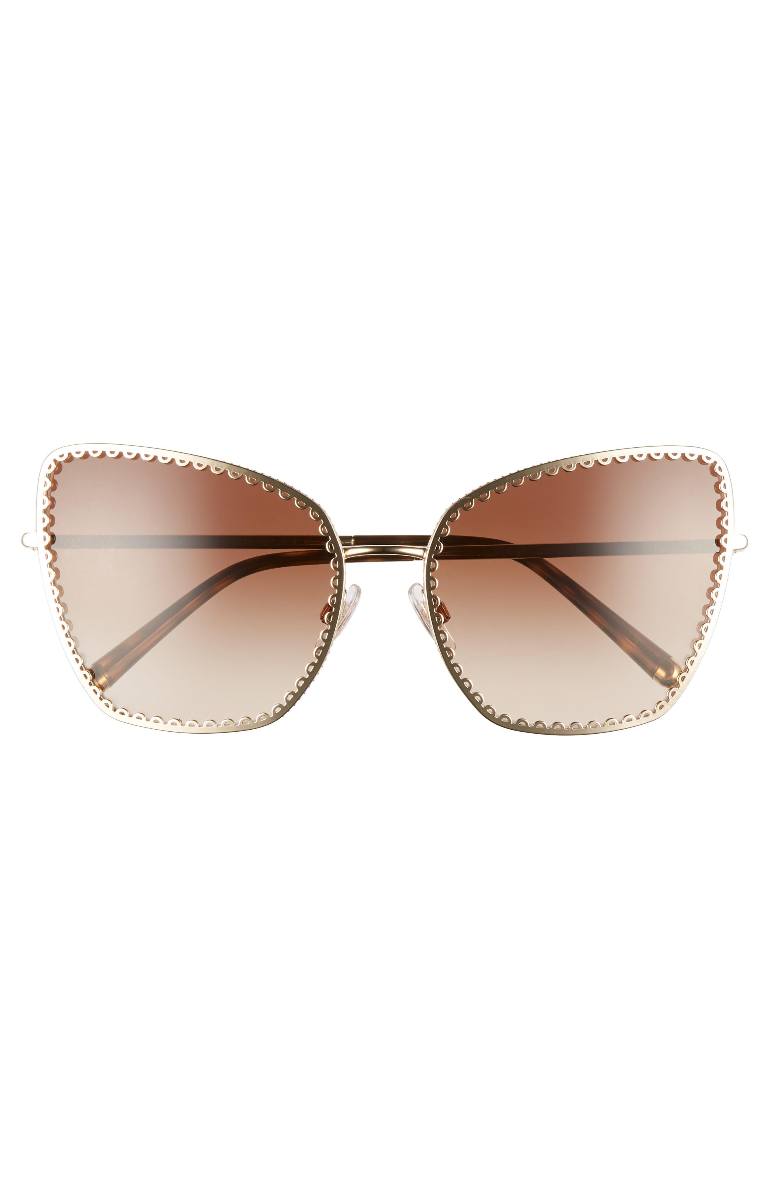 Sacred Heart 61mm Gradient Cat Eye Sunglasses,                             Alternate thumbnail 3, color,                             GOLD GRADIENT