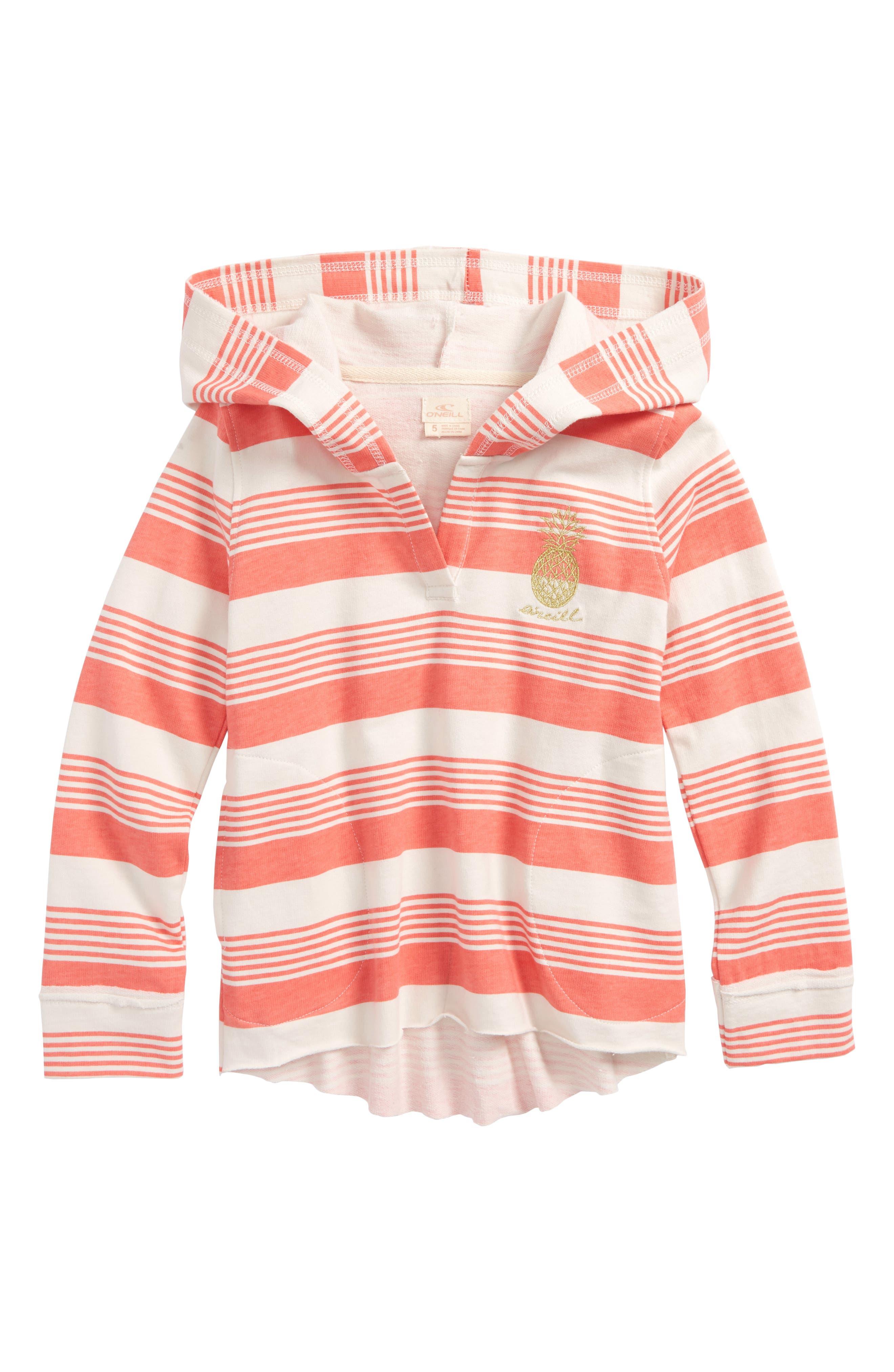 Playa Stripe Hoodie,                         Main,                         color, BURNT CORAL