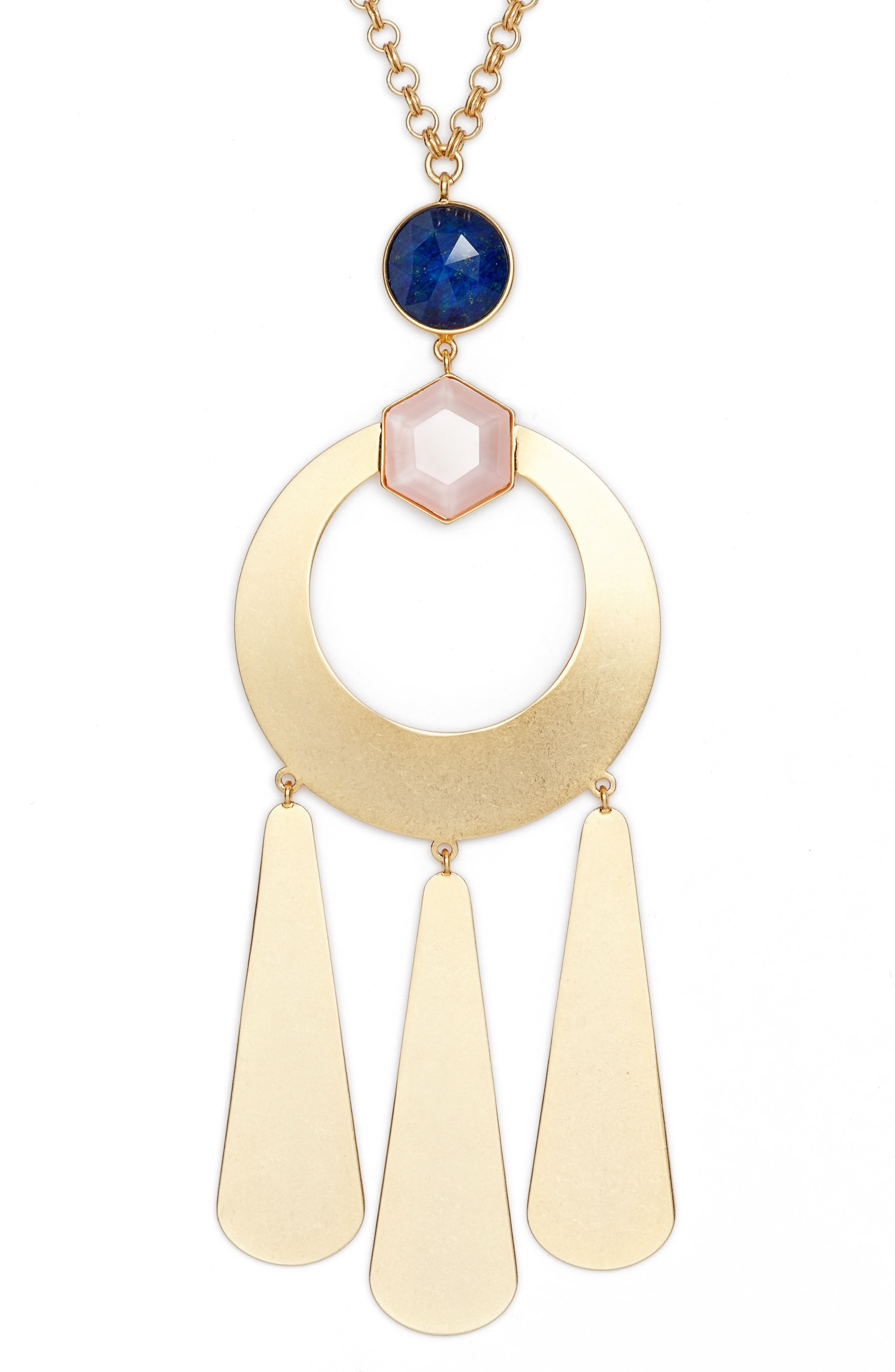 kate spade sunshine stones pendant necklace,                             Alternate thumbnail 2, color,                             GOLD MULTI
