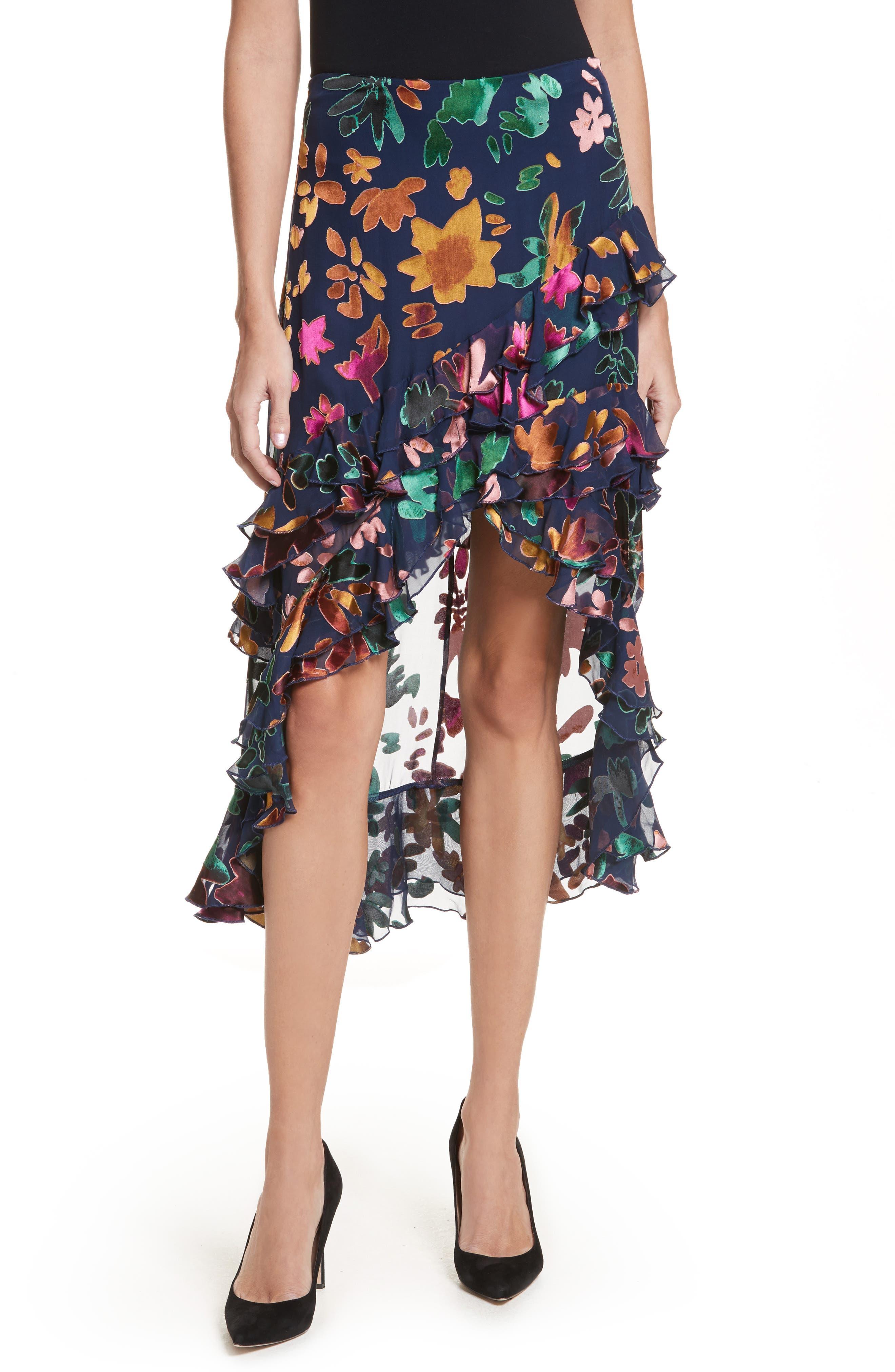 Sasha Asymmetrical Tiered Ruffle Skirt,                         Main,                         color, 471