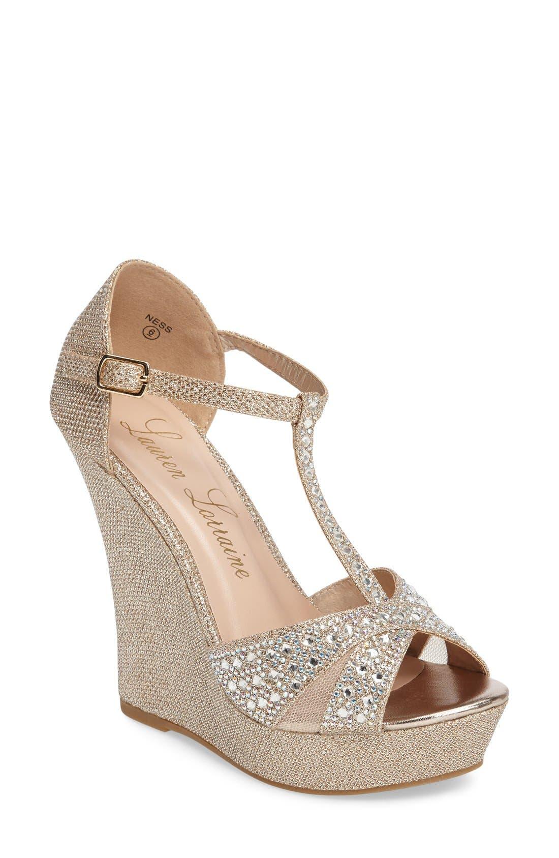 Ness Crystal Embellished Wedge Sandal,                             Main thumbnail 3, color,