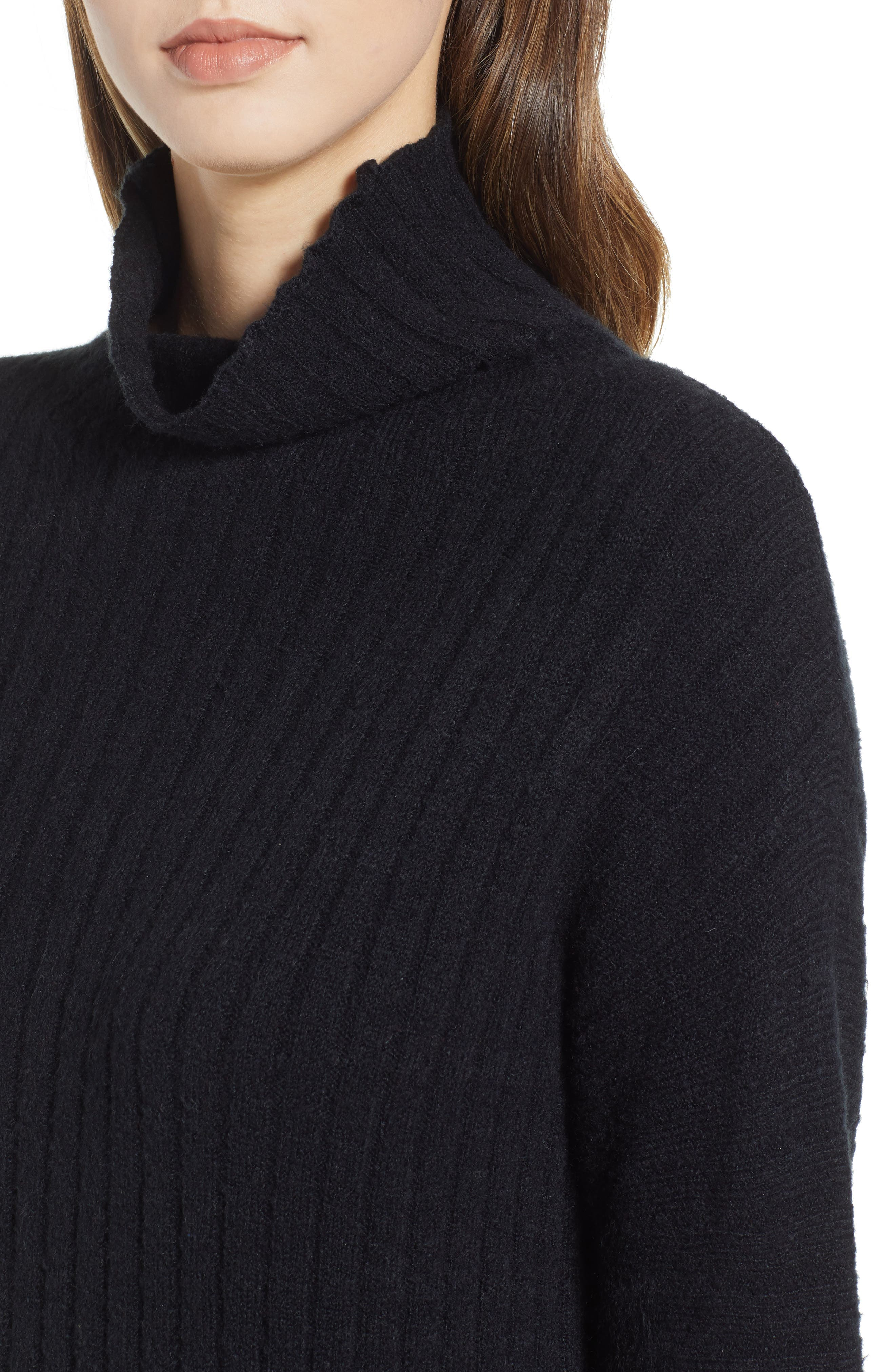 Rib Midi Sweater Dress,                             Alternate thumbnail 4, color,                             BLACK