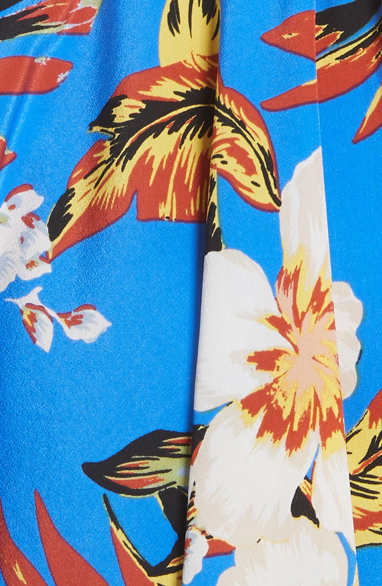 Tie Waist Floral Silk Dress,                             Alternate thumbnail 5, color,                             453