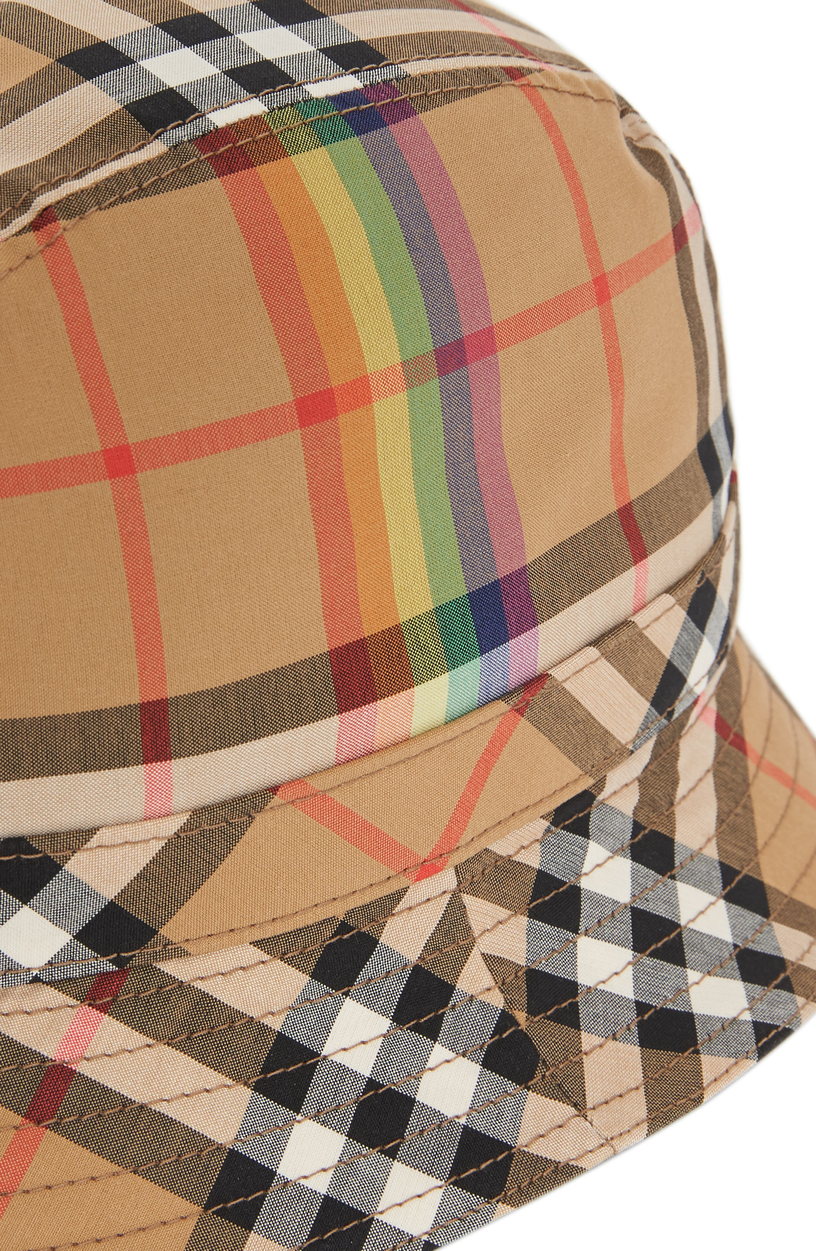 Rainbow Stripe Vintage Check Bucket Hat,                             Alternate thumbnail 4, color,                             ANTIQUE YELLOW/ RAINBOW