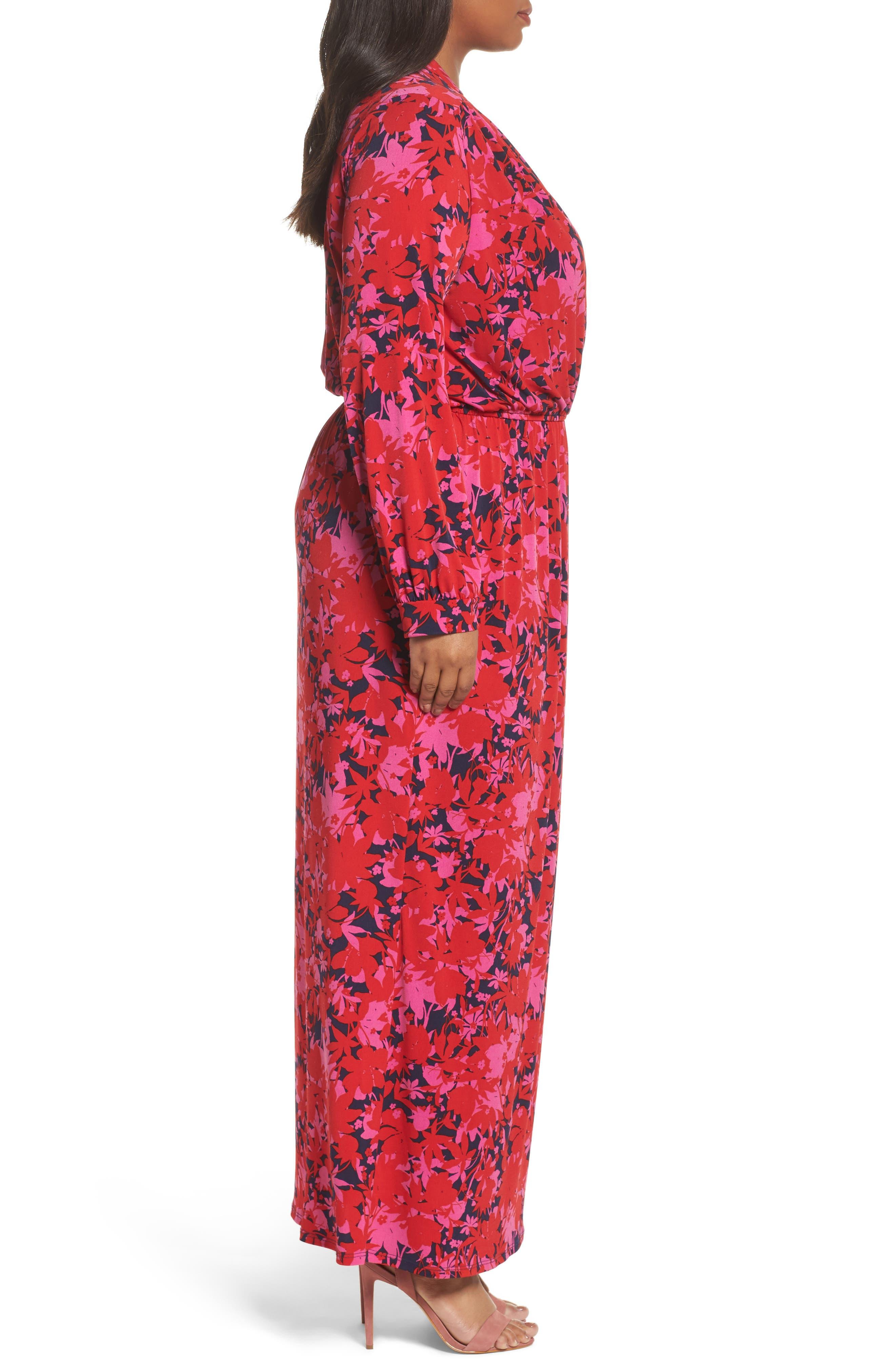 Bridget Floral Faux Wrap Maxi Dress,                             Alternate thumbnail 3, color,                             613