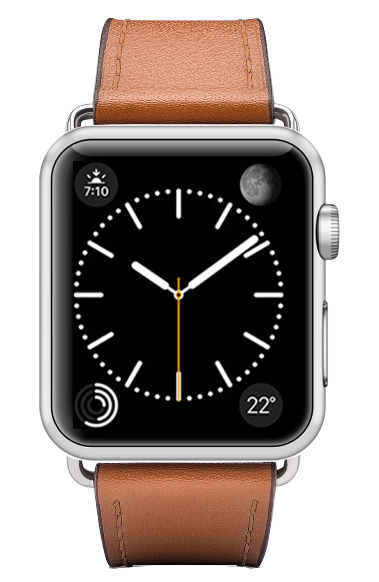 Double Tour Leather Apple Watch Strap,                             Main thumbnail 1, color,                             BROWN