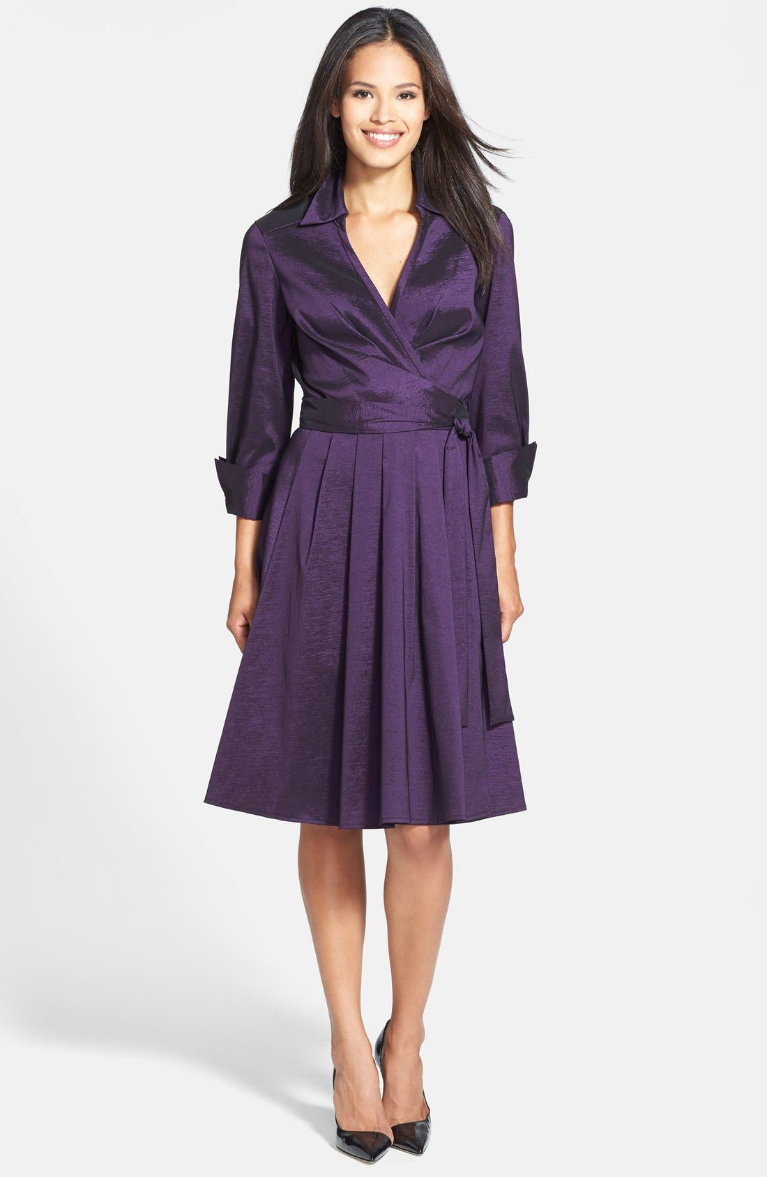 Taffeta Wrap Dress,                             Alternate thumbnail 3, color,                             502