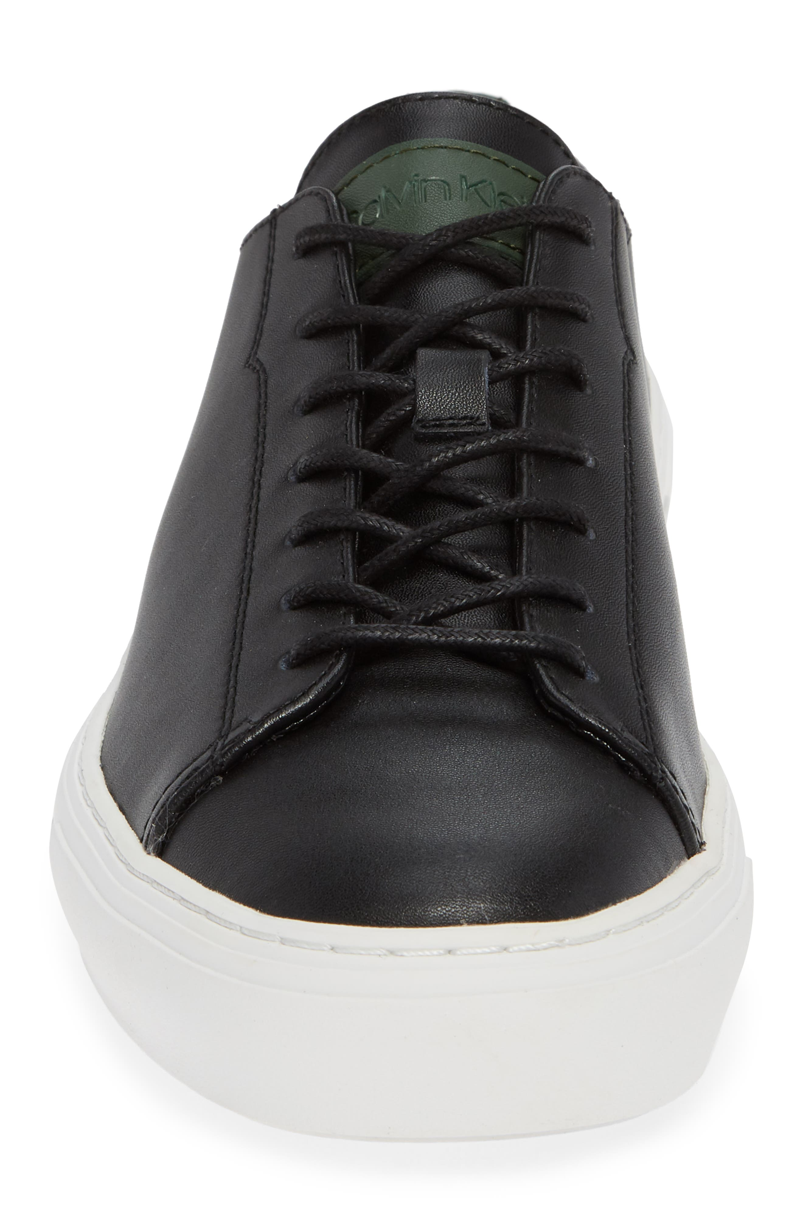 Octavian Low Top Sneaker,                             Alternate thumbnail 4, color,                             BLACK LEATHER