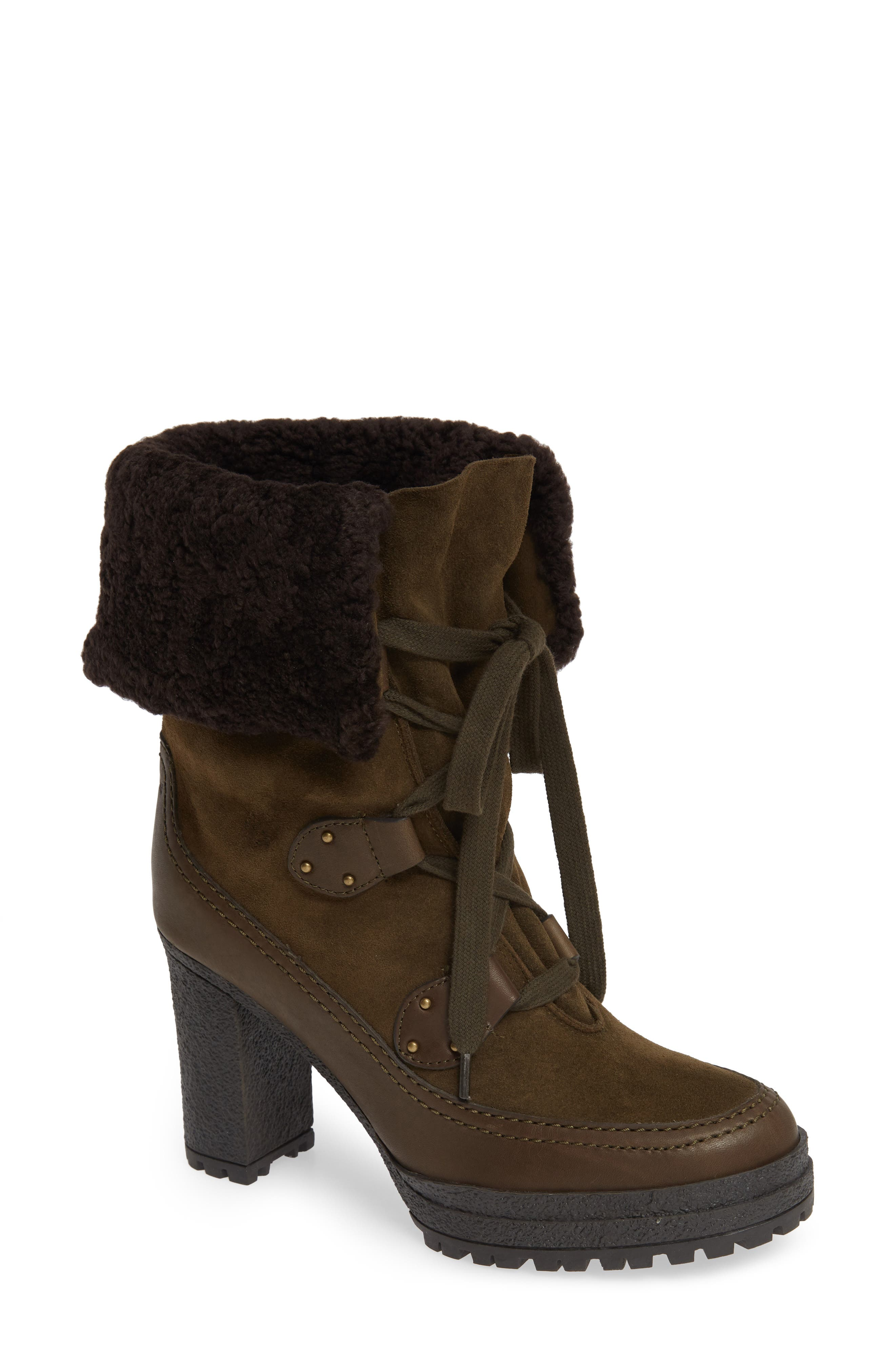 SEE BY CHLOÉ,                             Verena Shearling Cuff Bootie,                             Main thumbnail 1, color,                             300