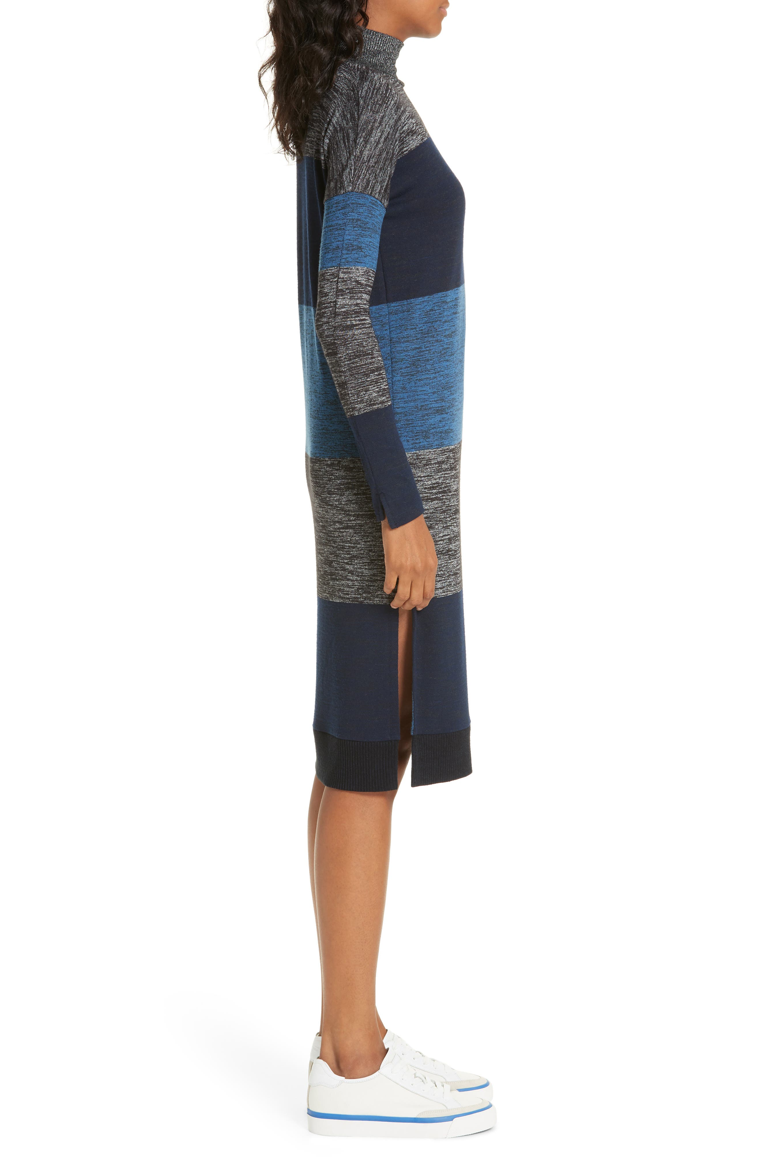 rag & bone Bowery Stripe Turtleneck Sweater Dress,                             Alternate thumbnail 3, color,                             BLUE STRIPE