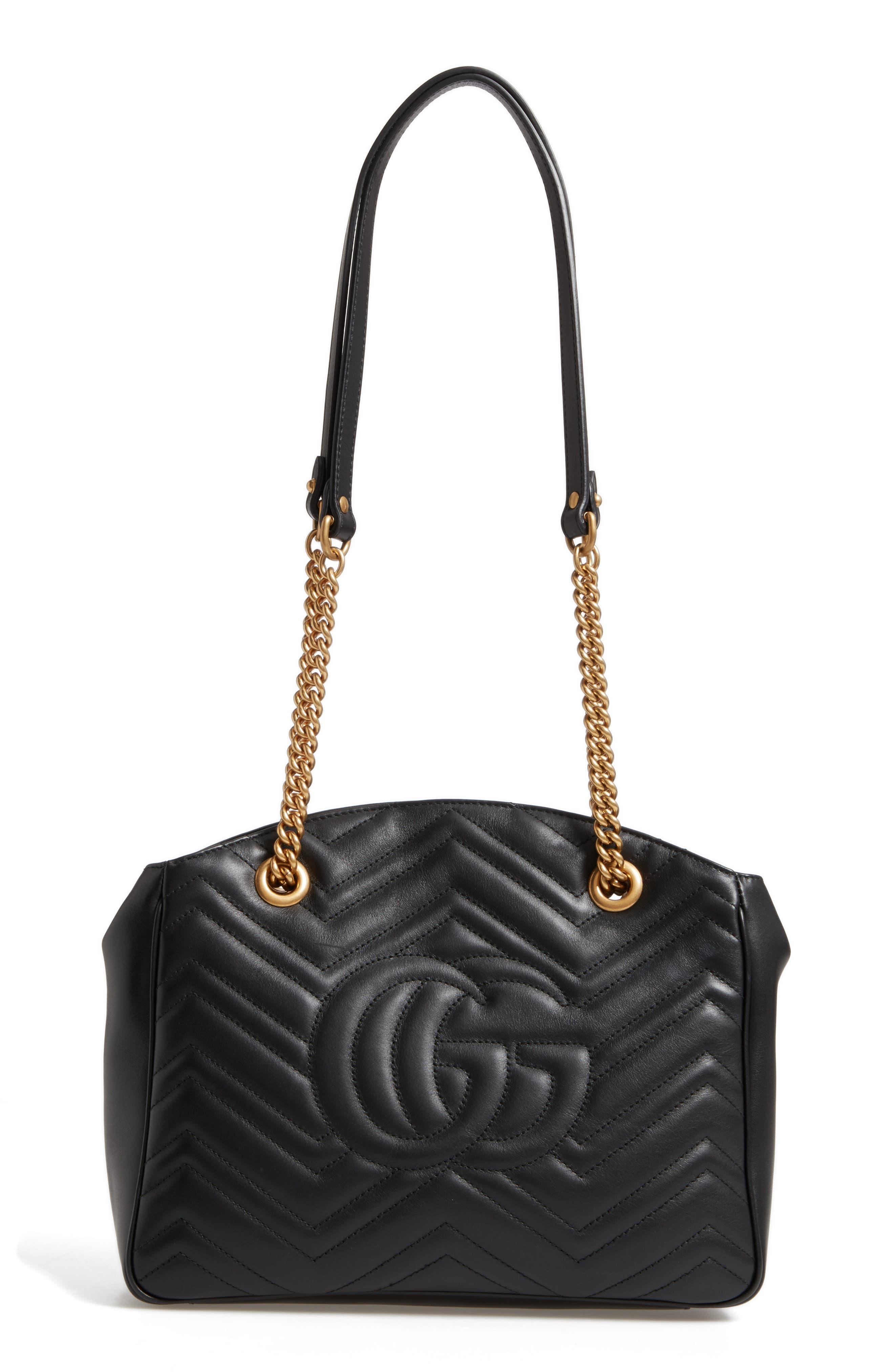 GG Marmont Matelassé Leather Shoulder Bag,                             Alternate thumbnail 3, color,                             001