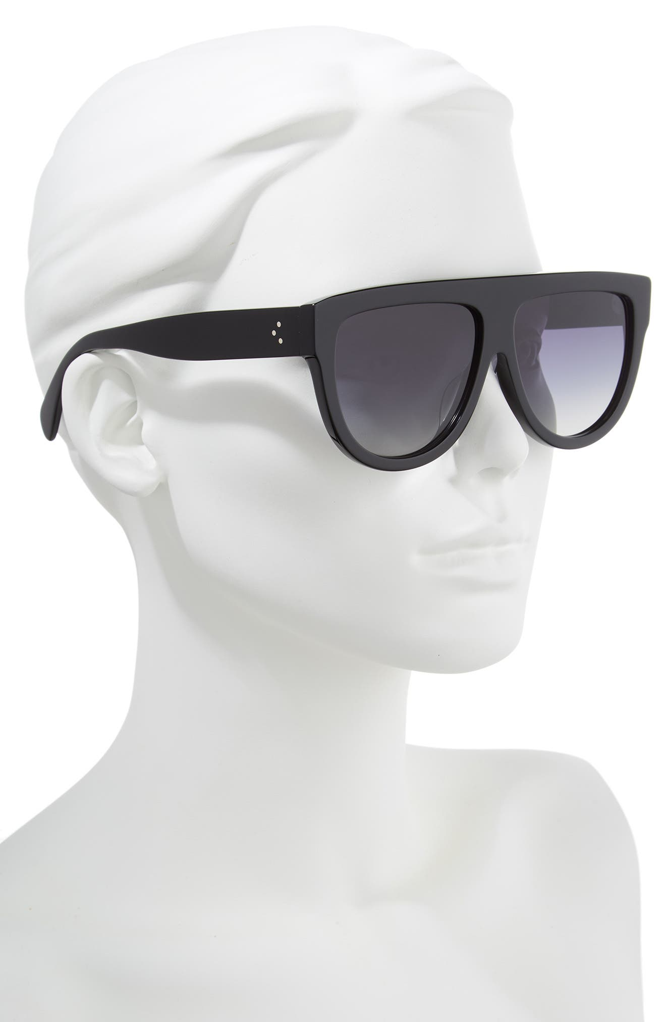 Special Fit 60mm Polarized Gradient Flat Top Sunglasses,                             Alternate thumbnail 3, color,                             BLACK/ GRADIENT SMOKE