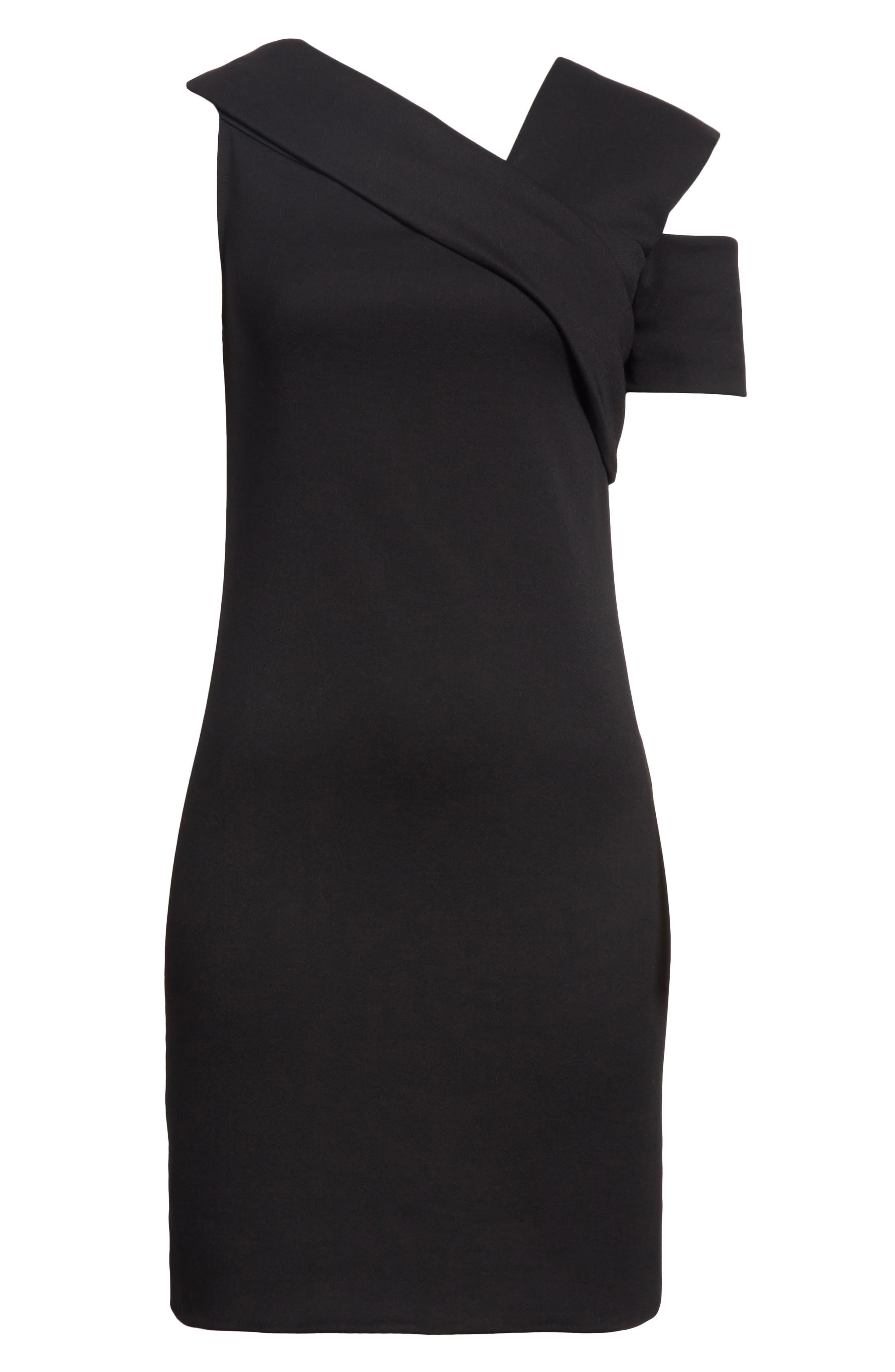 Asymmetrical Off the Shoulder Scuba Dress,                             Alternate thumbnail 6, color,                             001