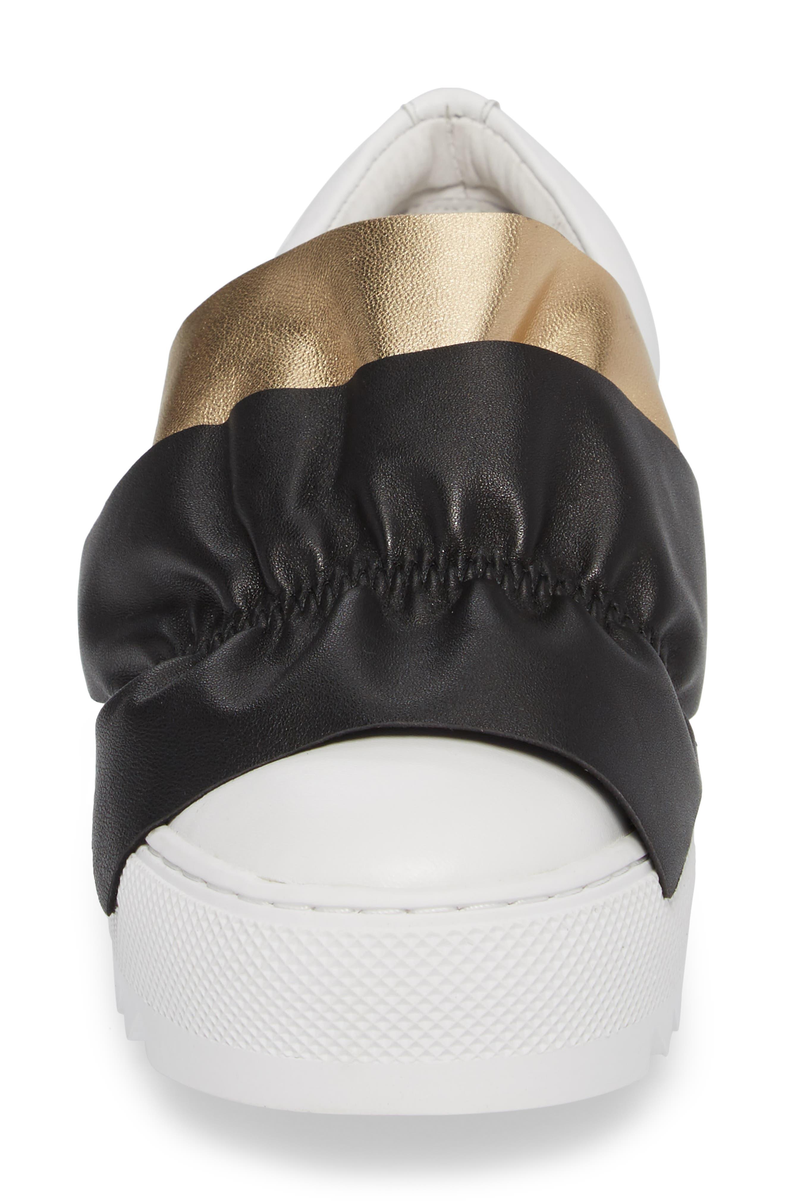Sadie Ruffle Platform Sneaker,                             Alternate thumbnail 4, color,                             WHITE LEATHER