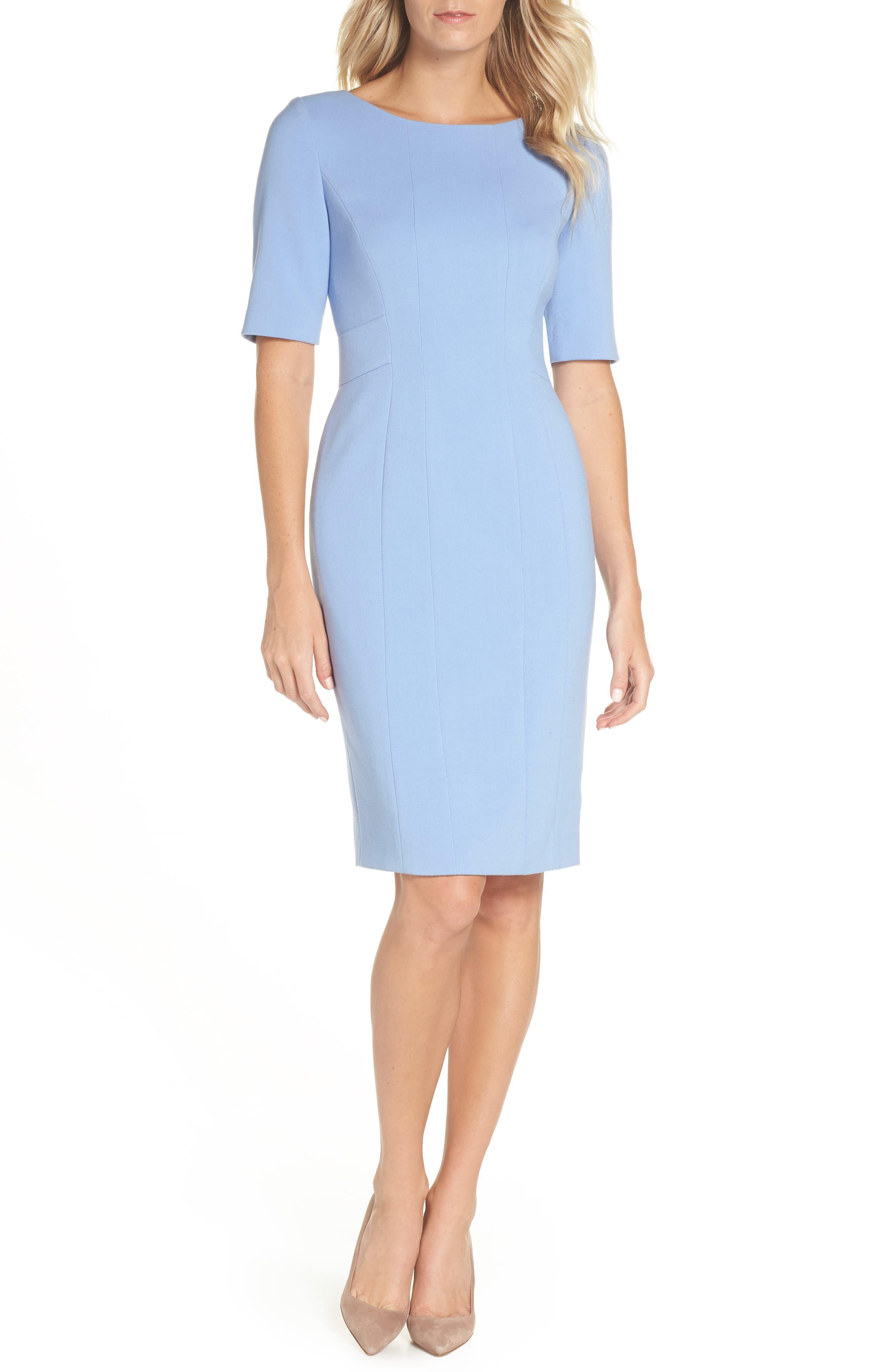 Eliza J Bateau Neck Crepe Sheath Dress, Blue
