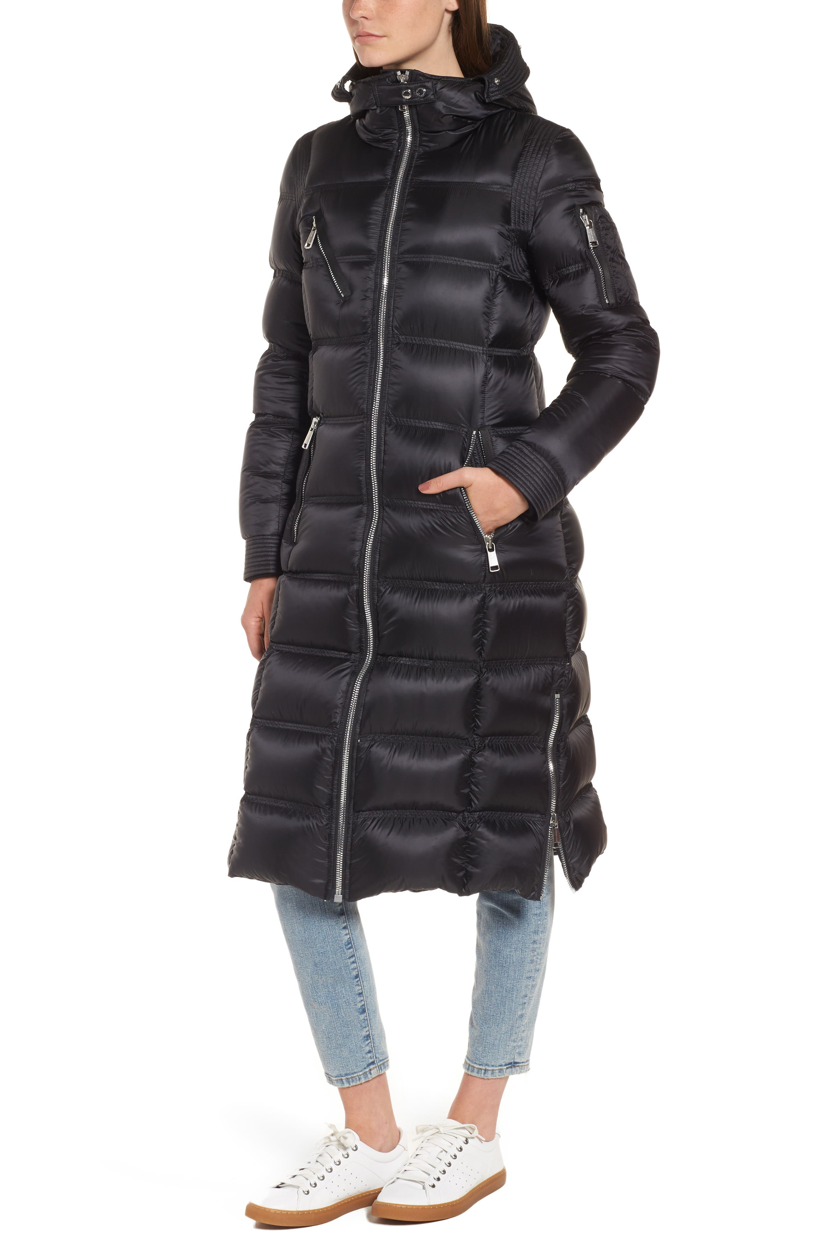 Charlize 42 Hooded Water Resistant Down Coat with Genuine Fox Fur Trim,                             Alternate thumbnail 4, color,                             001