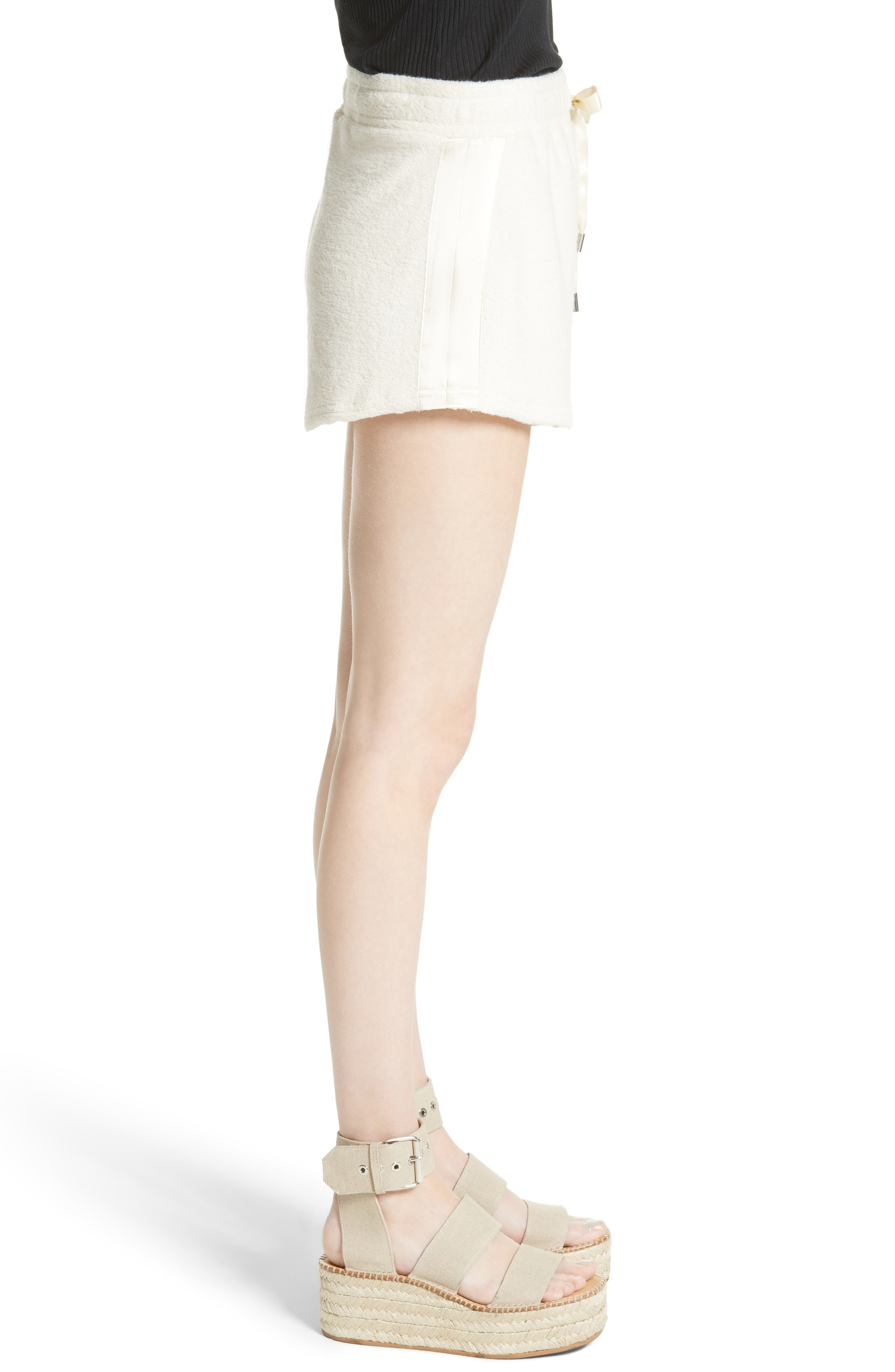 Max Silk Trim Cotton Terry Shorts,                             Alternate thumbnail 3, color,