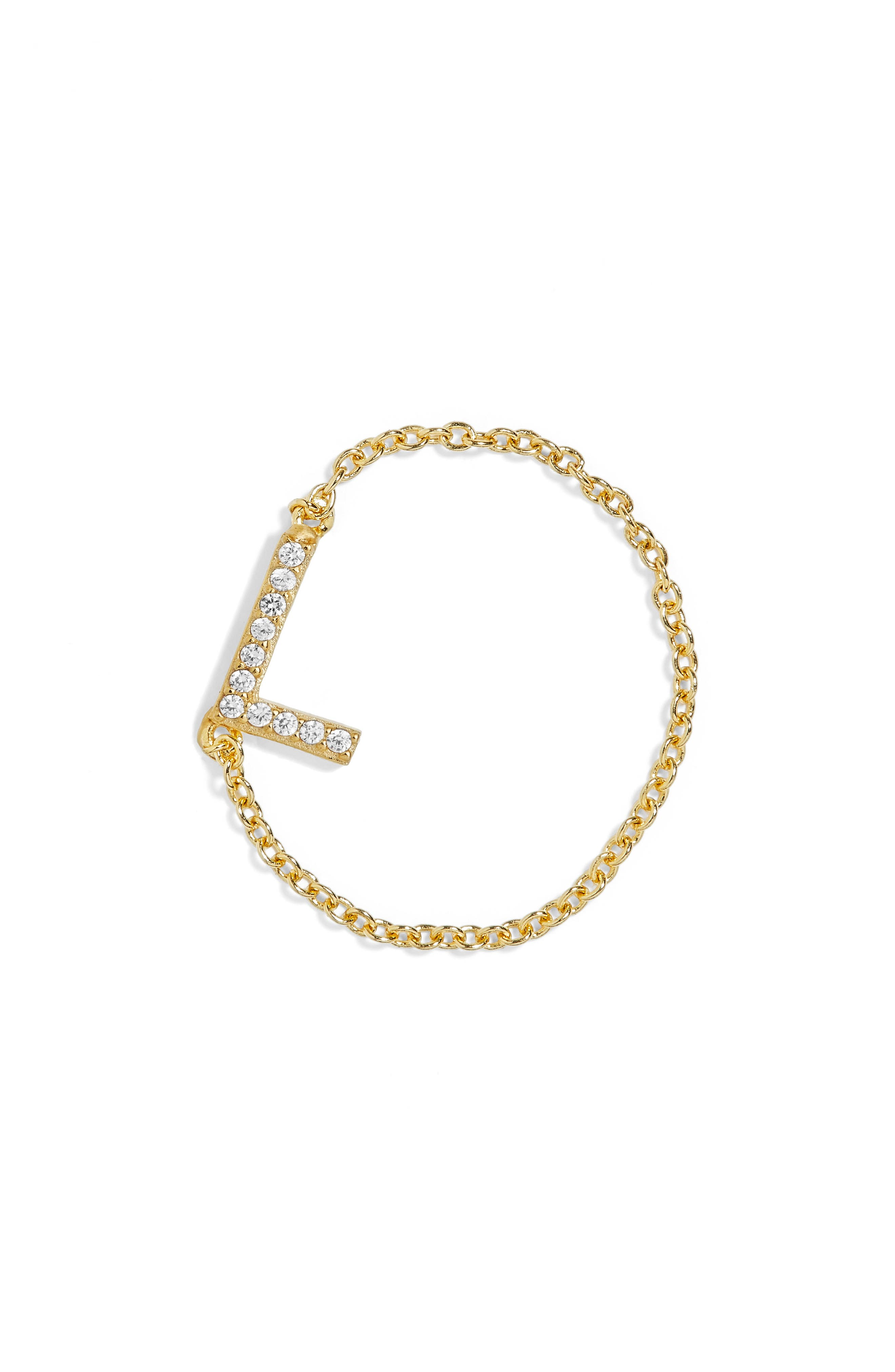 Nome Everyday Fine Crystal Initial Chain Ring,                             Main thumbnail 5, color,