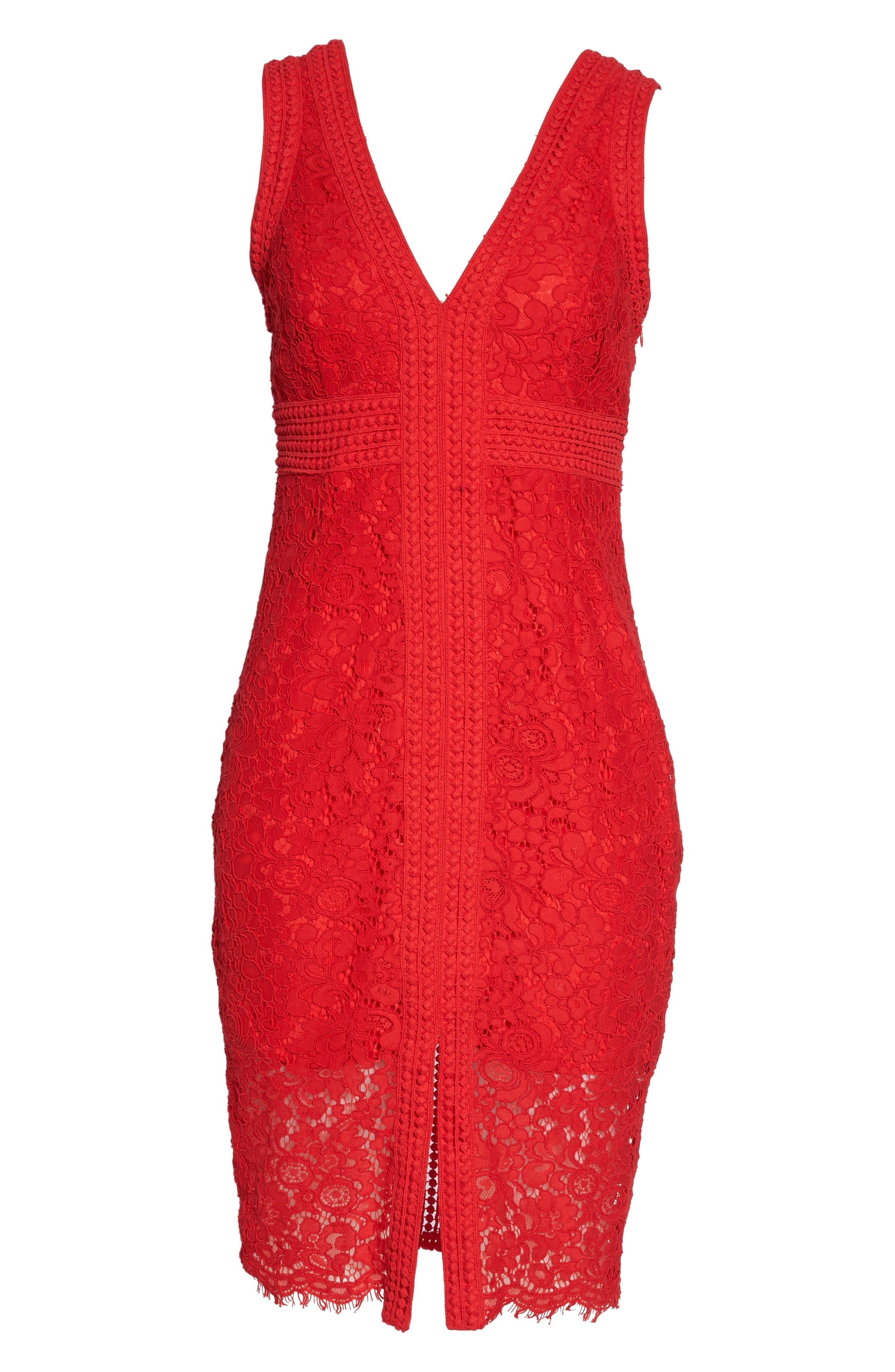 Morgan Front Slit Lace Sheath Dress,                             Alternate thumbnail 7, color,                             LIPSTICK