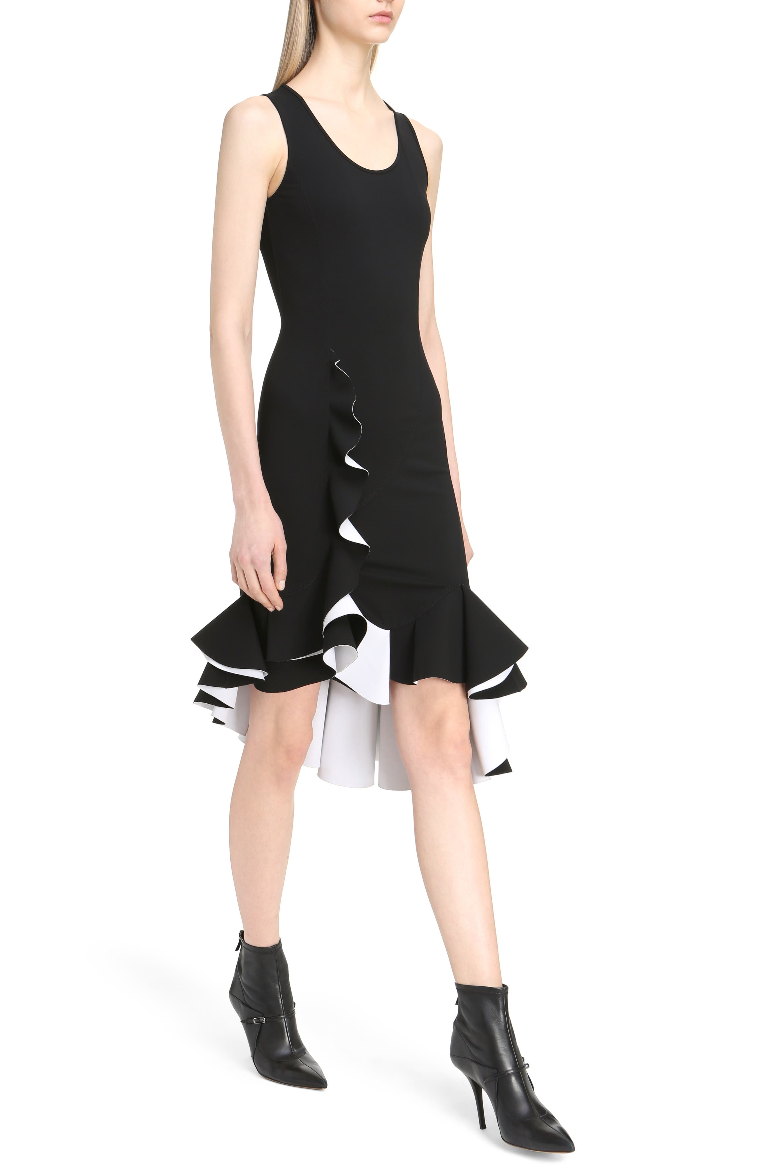 Bicolor Ruffle Crepe Dress,                             Alternate thumbnail 4, color,