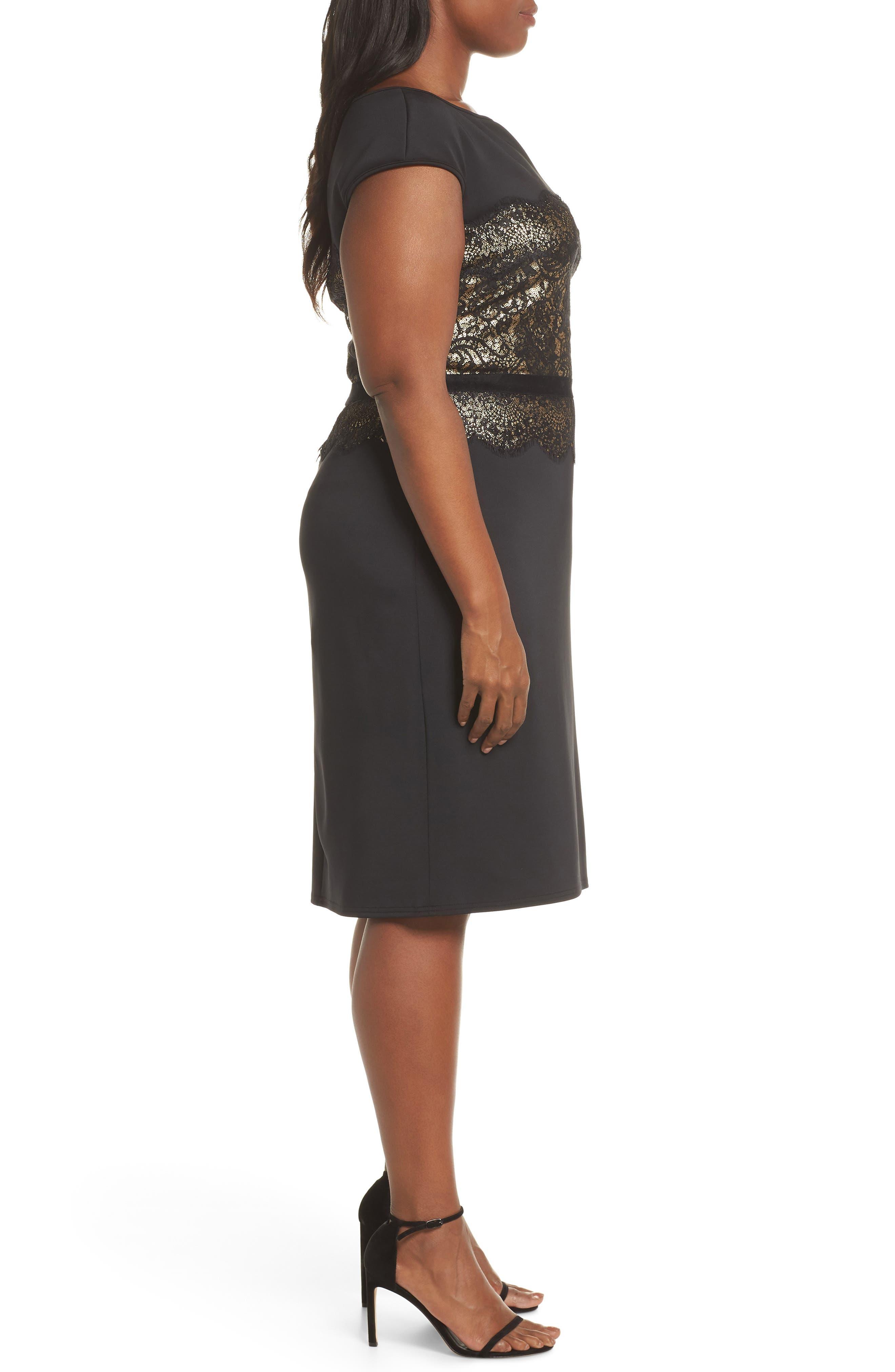 Lace Inset Scuba Dress,                             Alternate thumbnail 10, color,                             BLACK/ GOLD