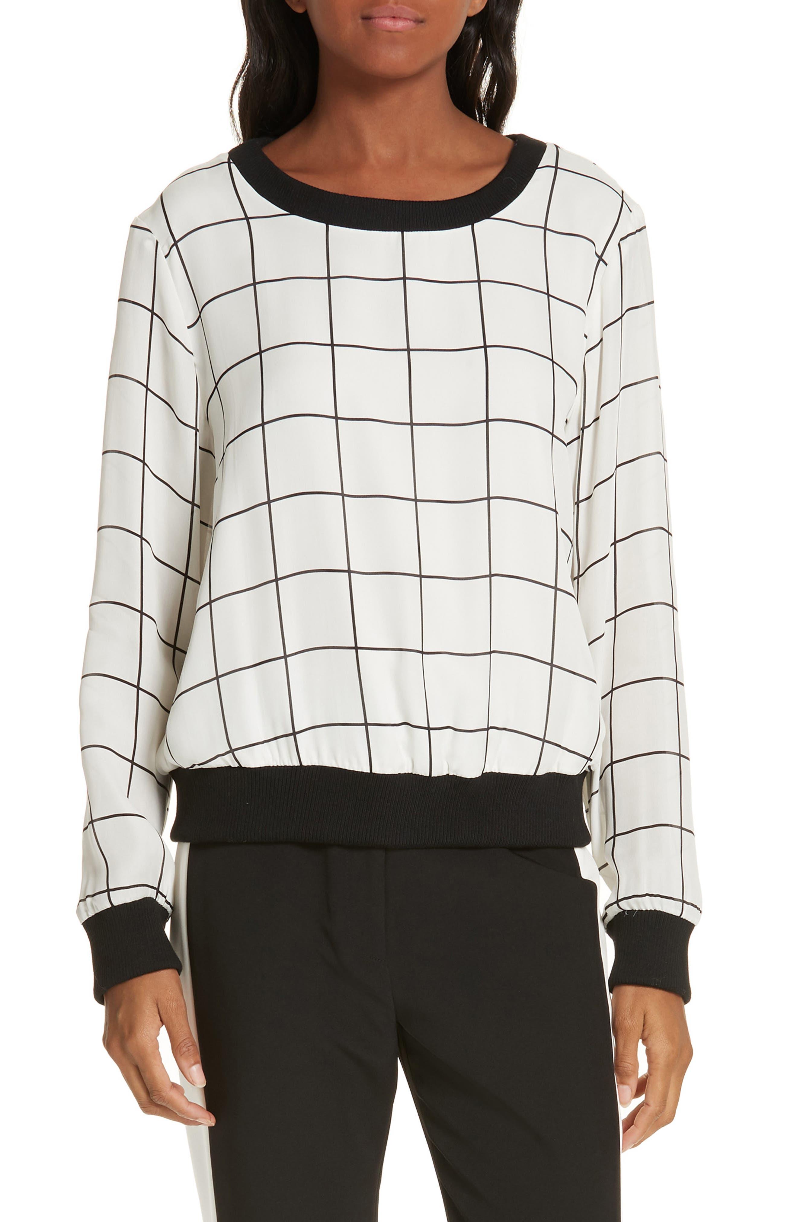 Check Silk Top, Main, color, WHITE/ BLACK
