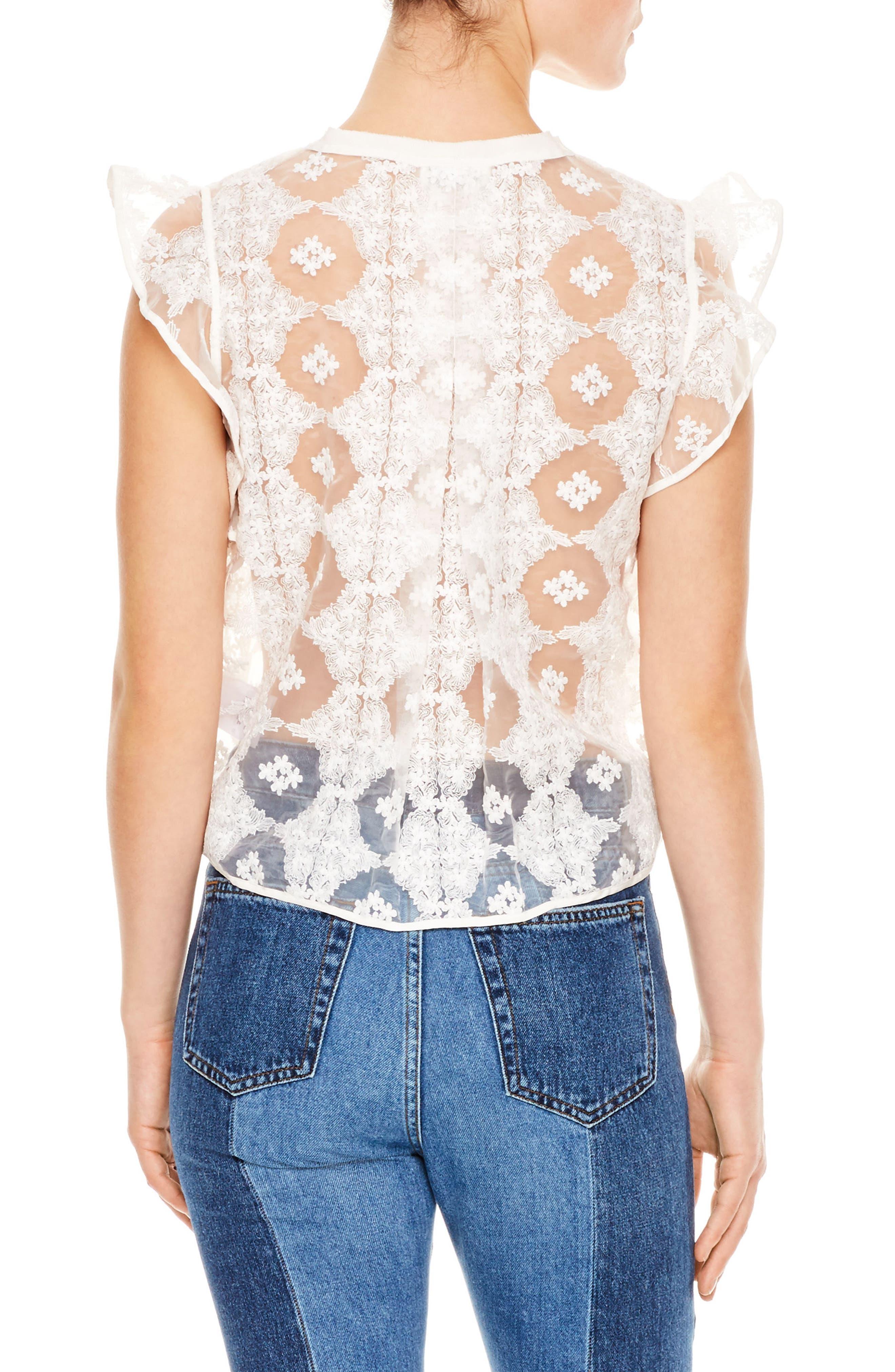 Blanc Ruffle Sleeve Split Neck Lace Top,                             Alternate thumbnail 2, color,                             100