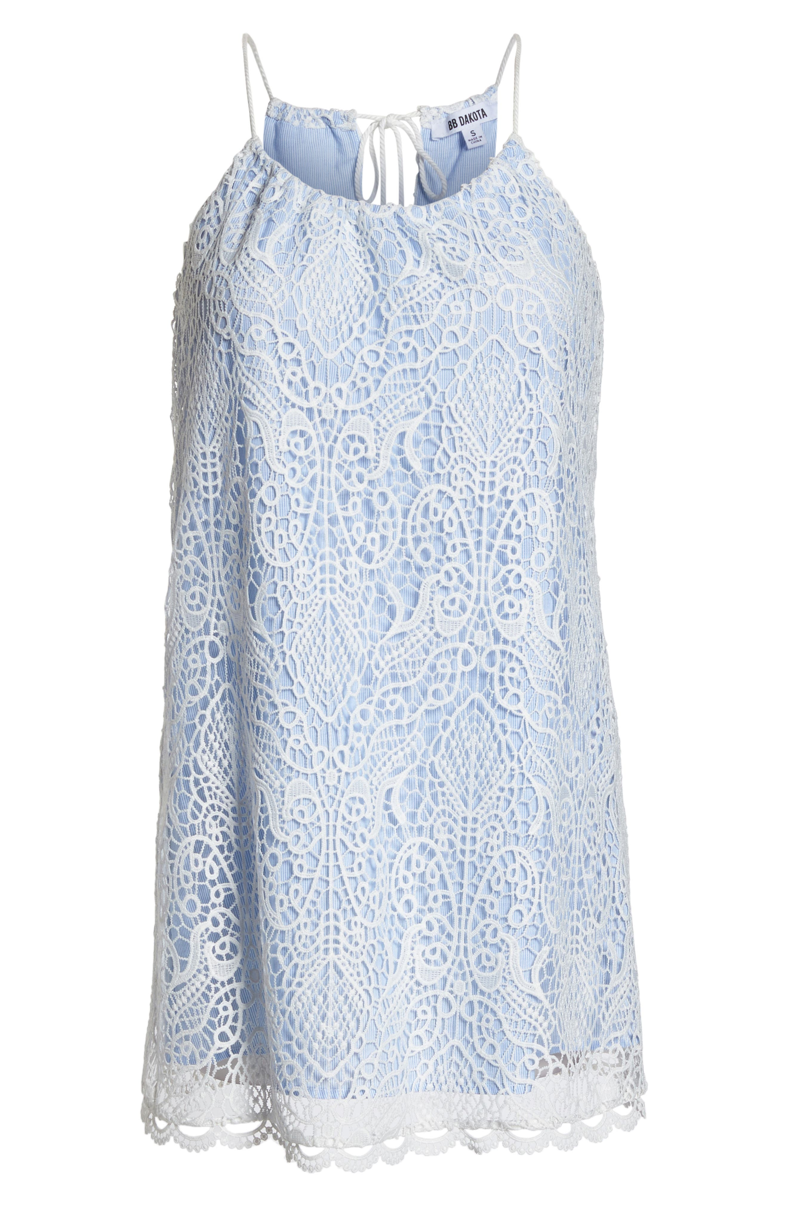 Pinstripe Cotton Lace Shift Dress,                             Alternate thumbnail 7, color,                             110