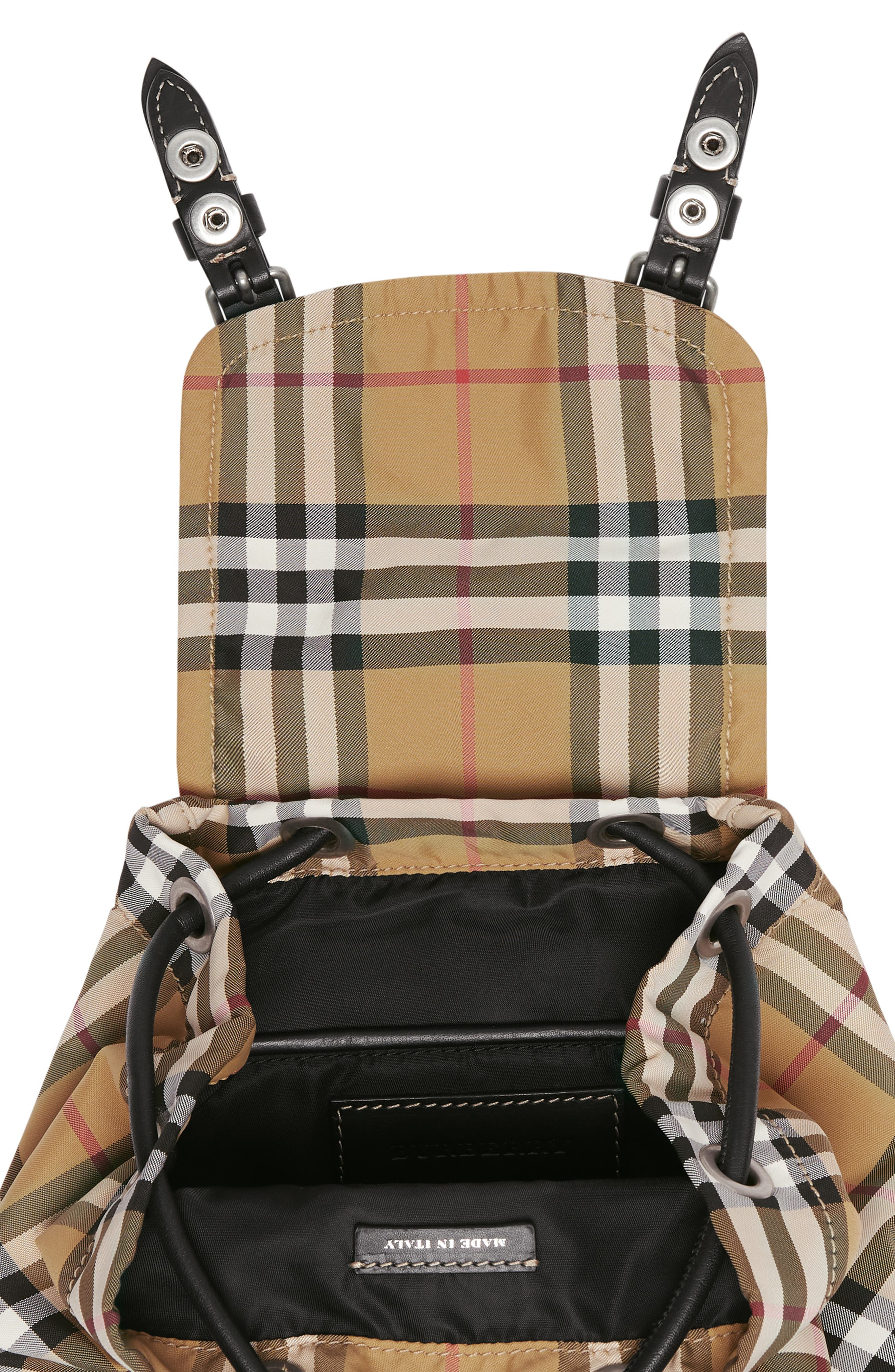 BURBERRY,                             Small Rucksack Vintage Check Nylon Backpack,                             Alternate thumbnail 6, color,                             ANTIQUE YELLOW/ BLACK