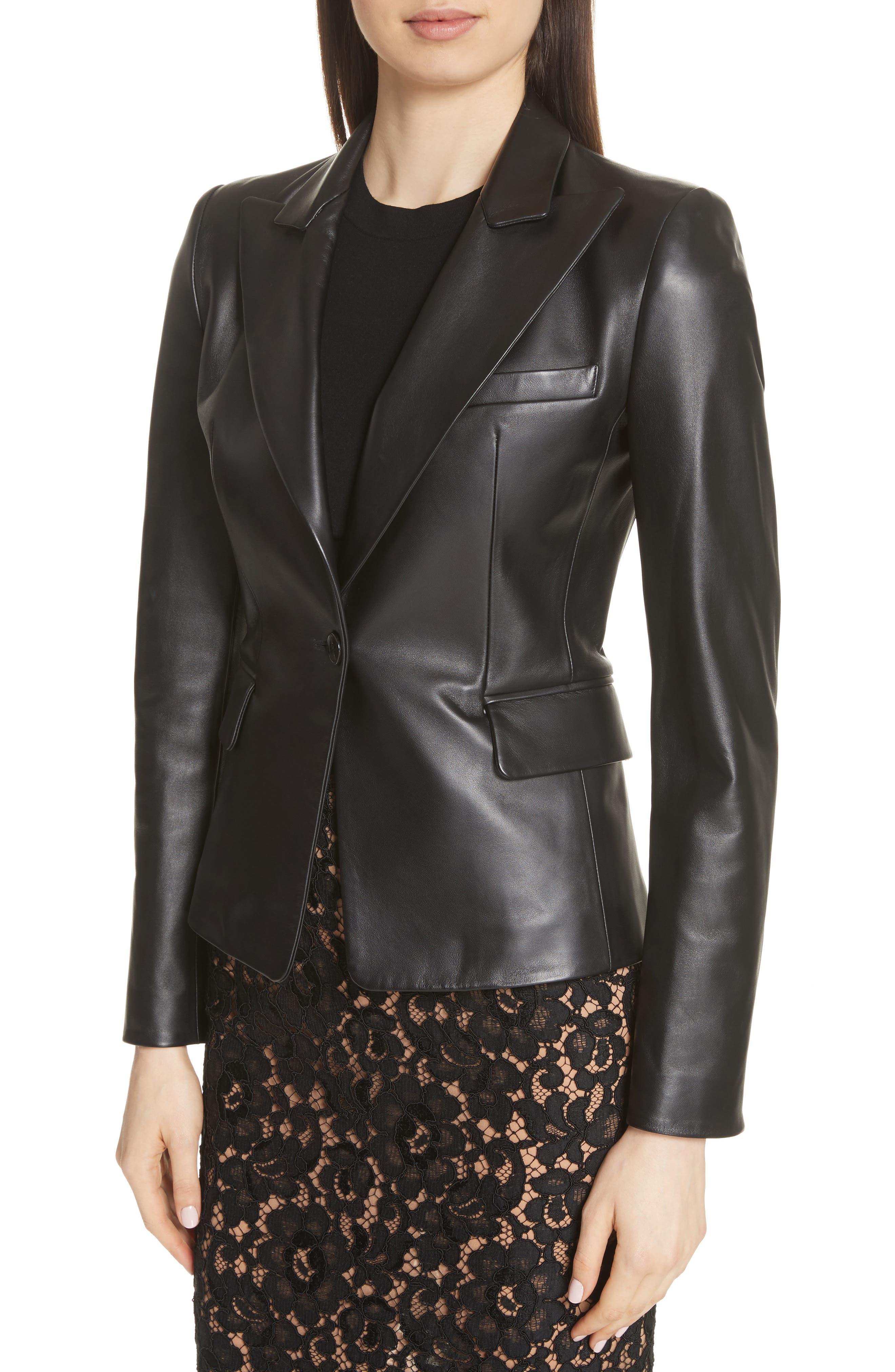 Plongé Leather Jacket,                             Alternate thumbnail 4, color,                             BLACK