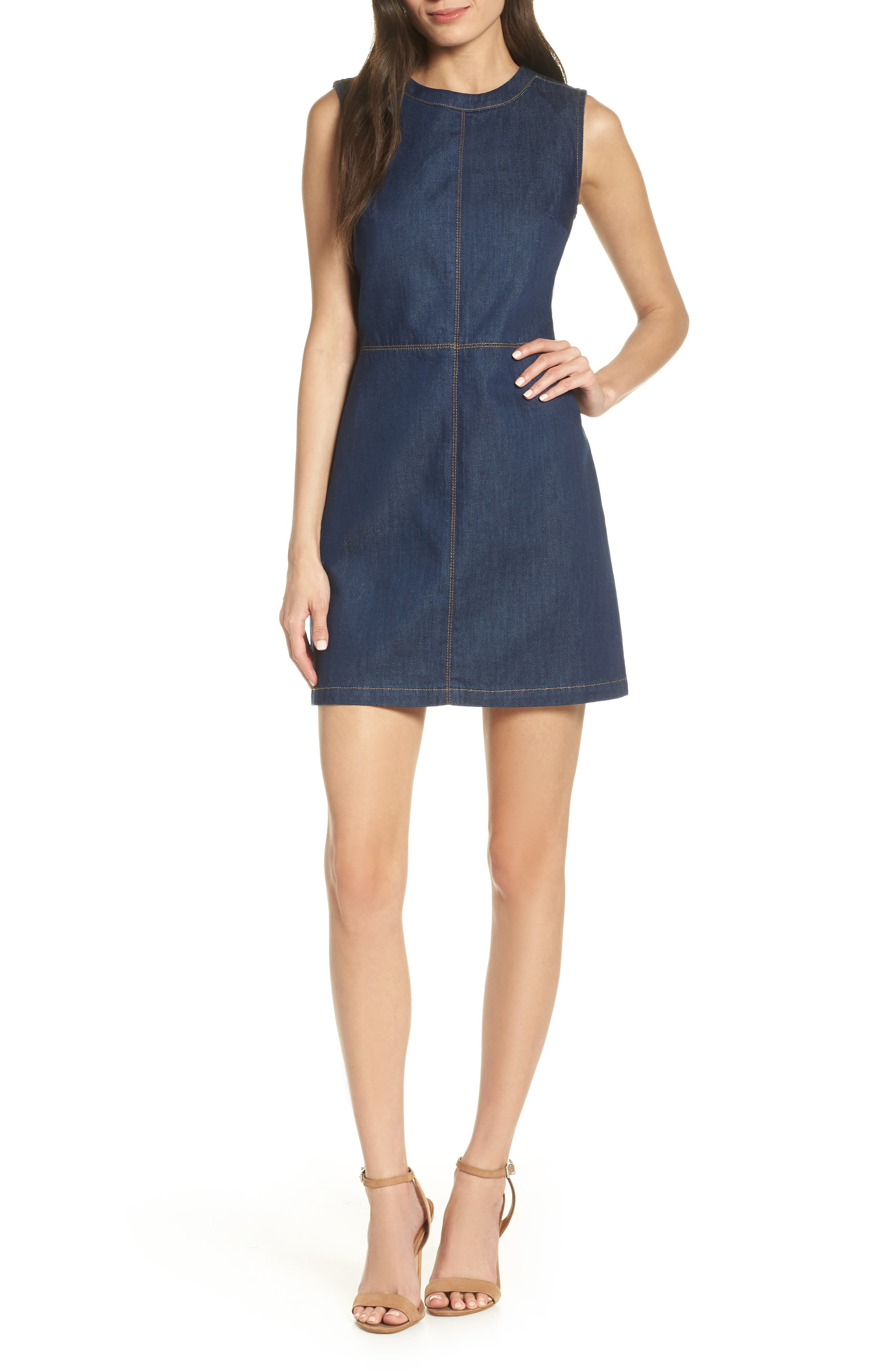 French Connection Linaira Contrast Stitch Denim Minidress, Blue