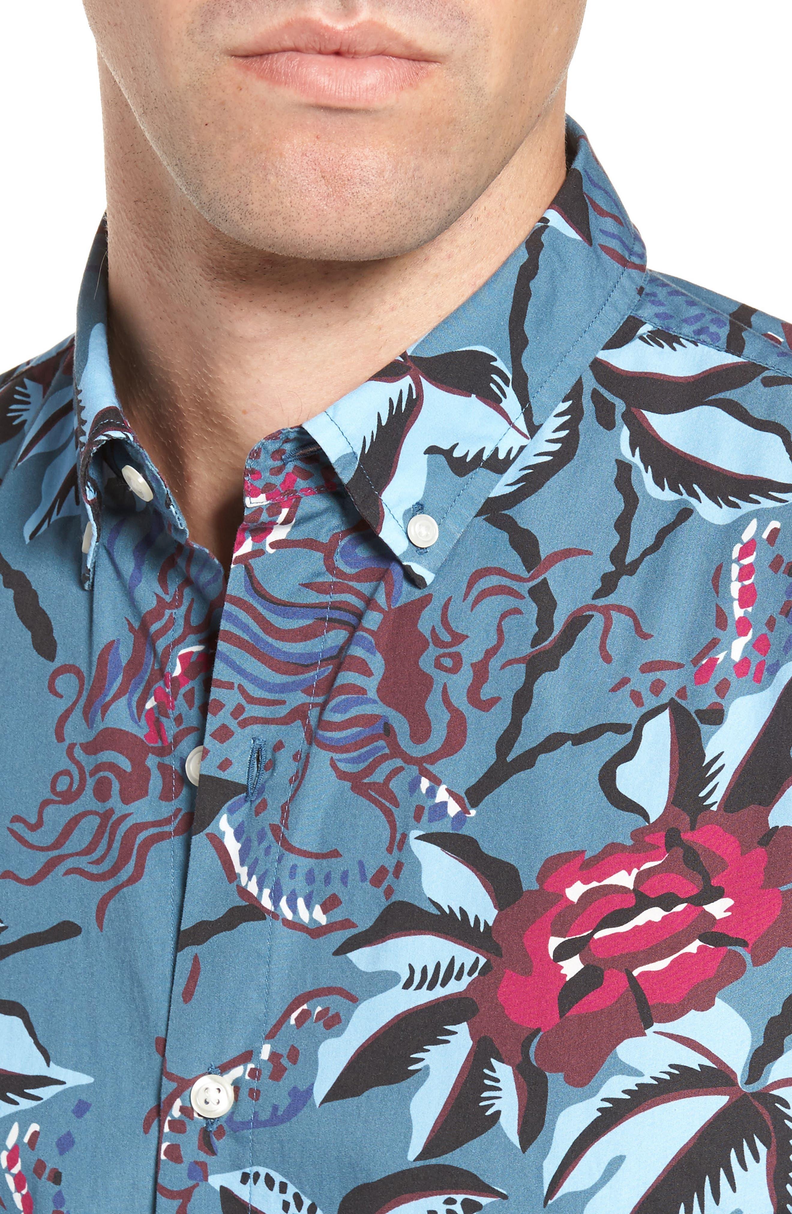 Slim Fit Floral Print Sport Shirt,                             Alternate thumbnail 4, color,                             400